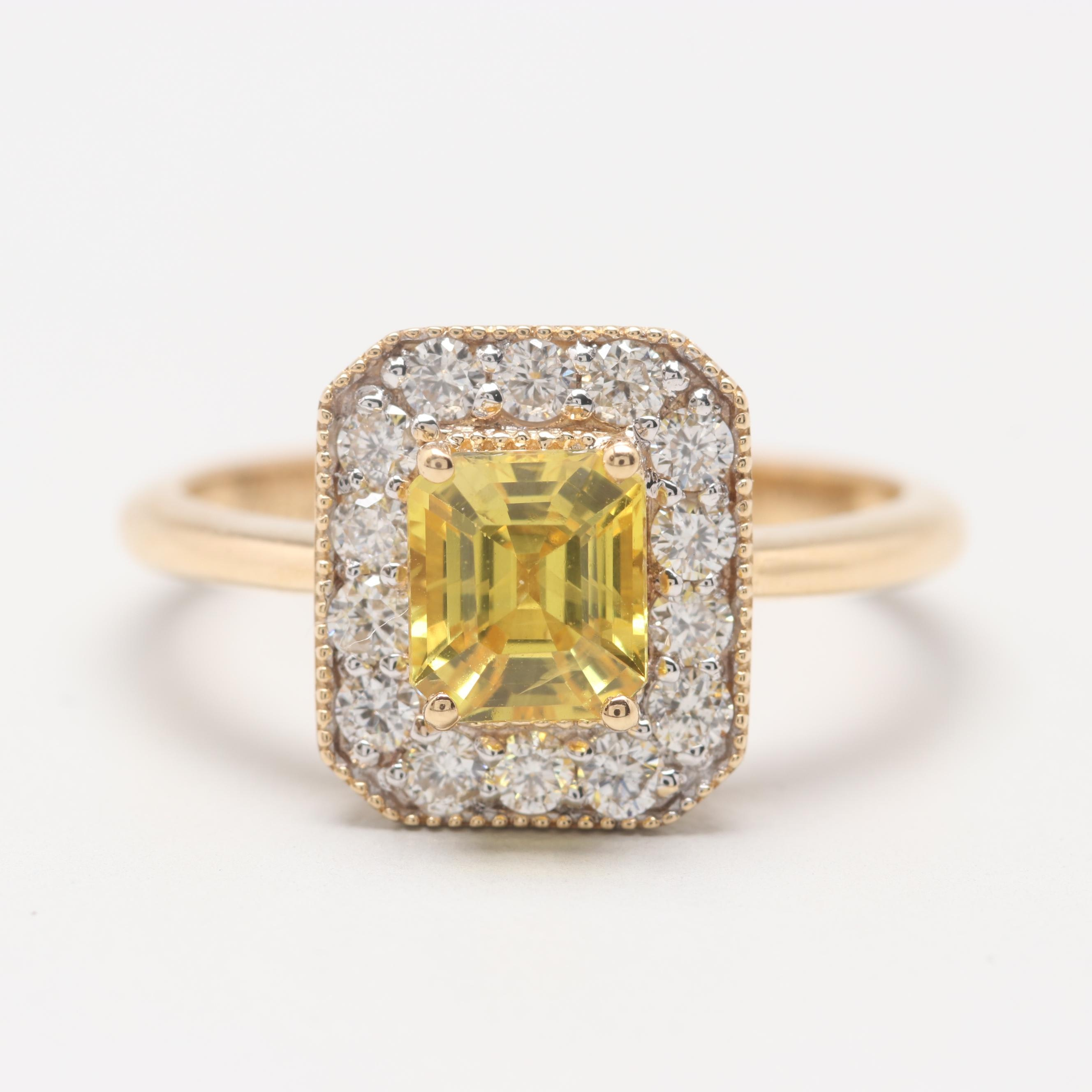 18K Yellow Gold 1.21 CT Yellow Sapphire and Diamond Ring