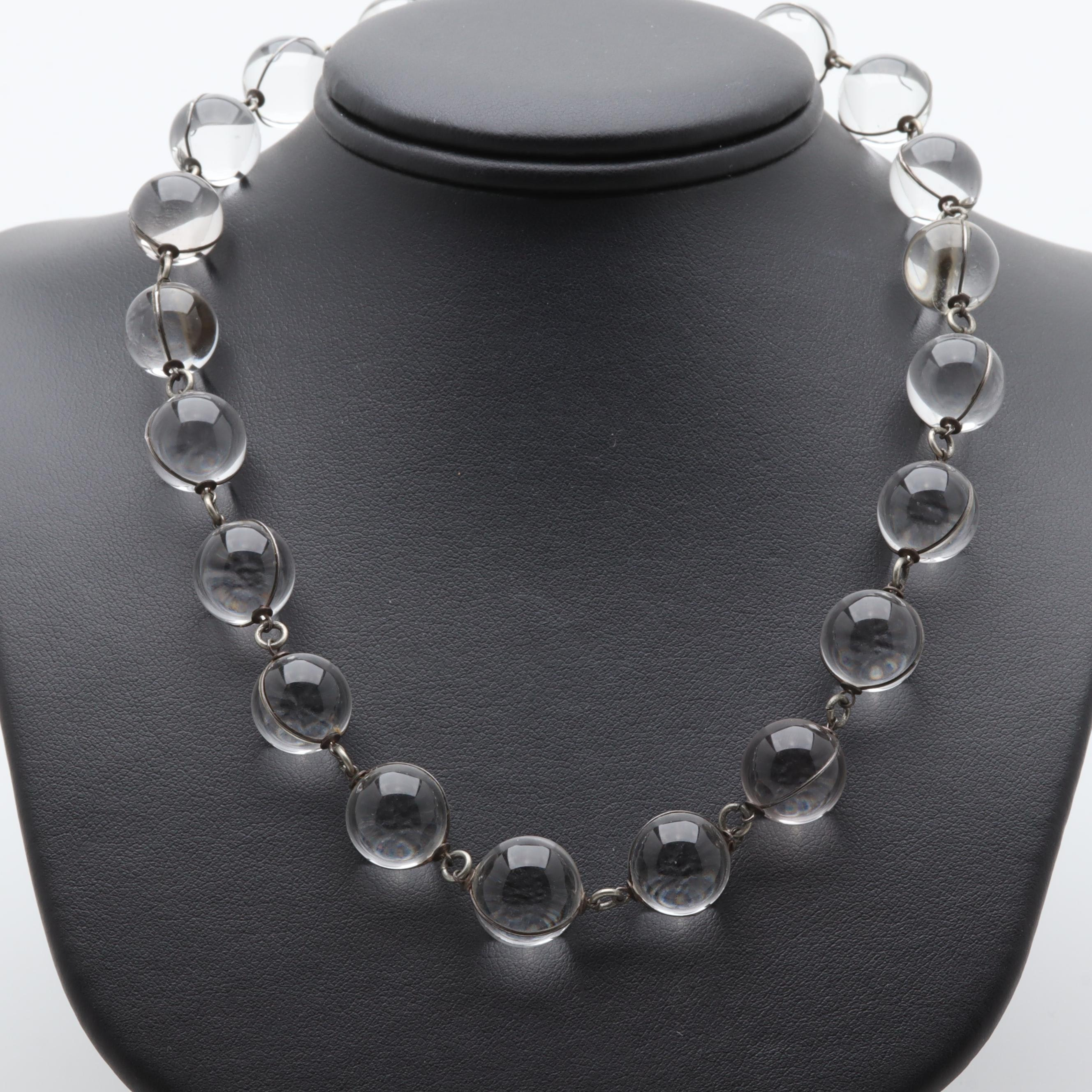 "Early 20th Century Sterling Silver Quartz Crystal ""Pools of Light"" Bead Necklace"