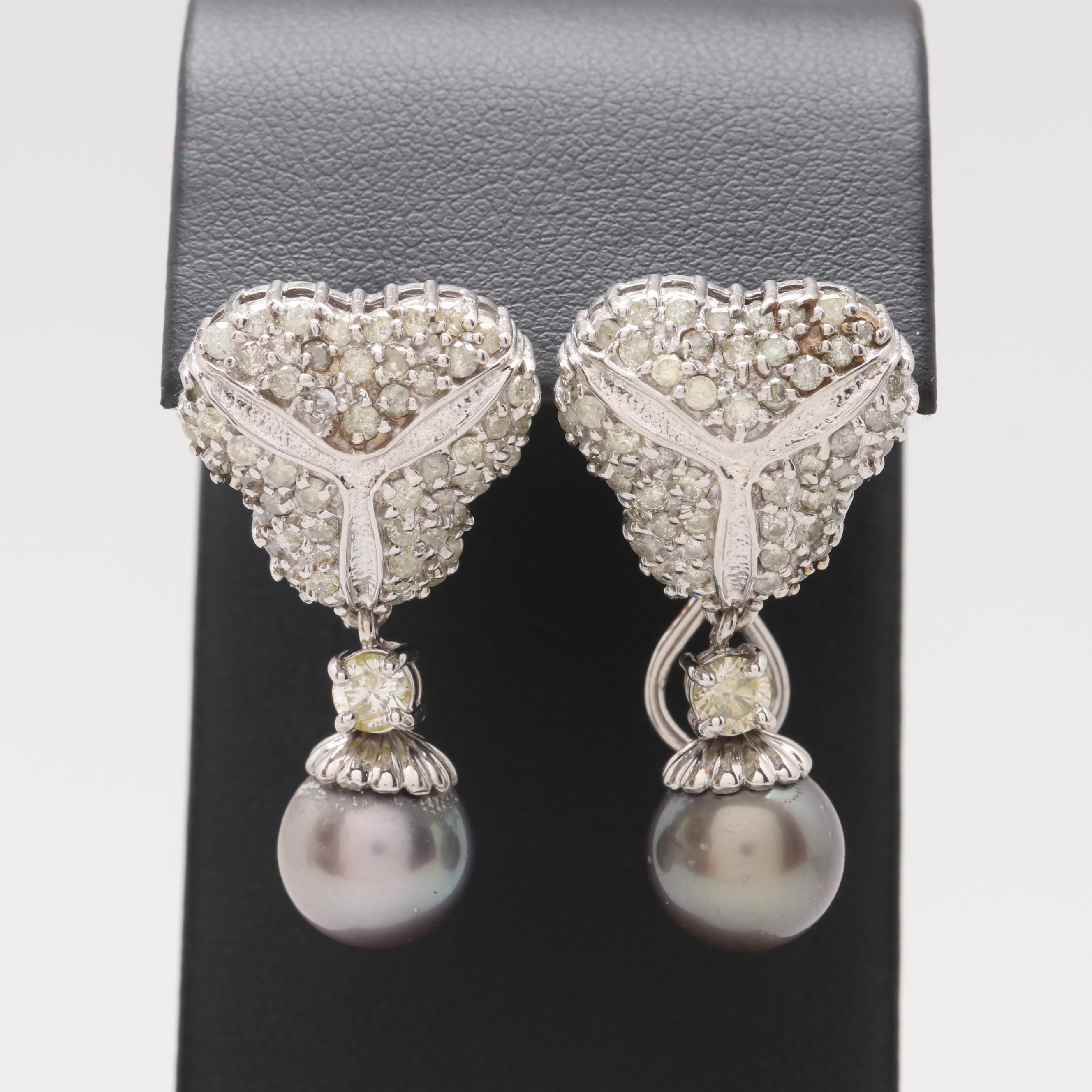 14K White Gold Cultured Pearl and 3.08 CTW Diamond Earrings