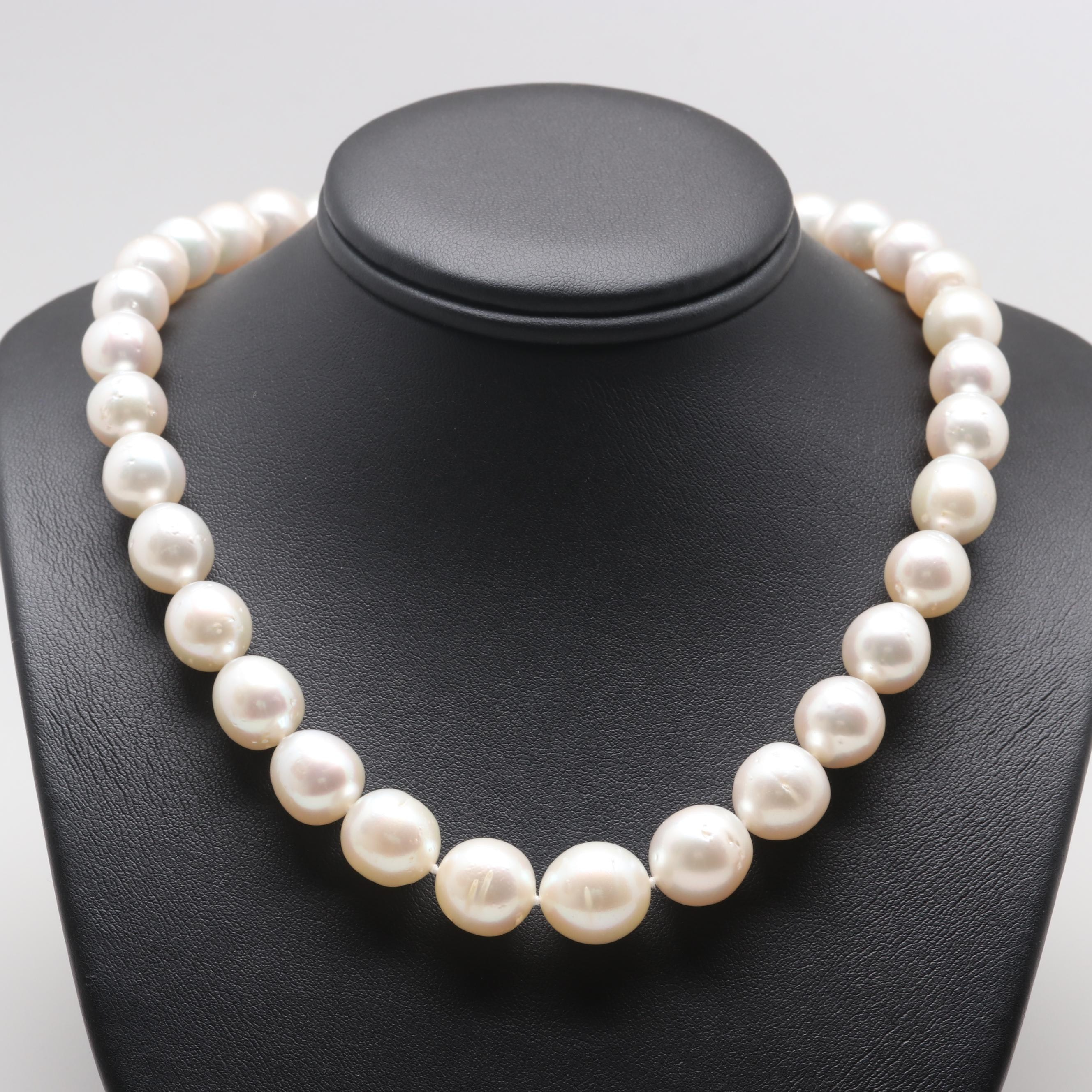 14K White Gold Cultured Pearl Single Strand Necklace