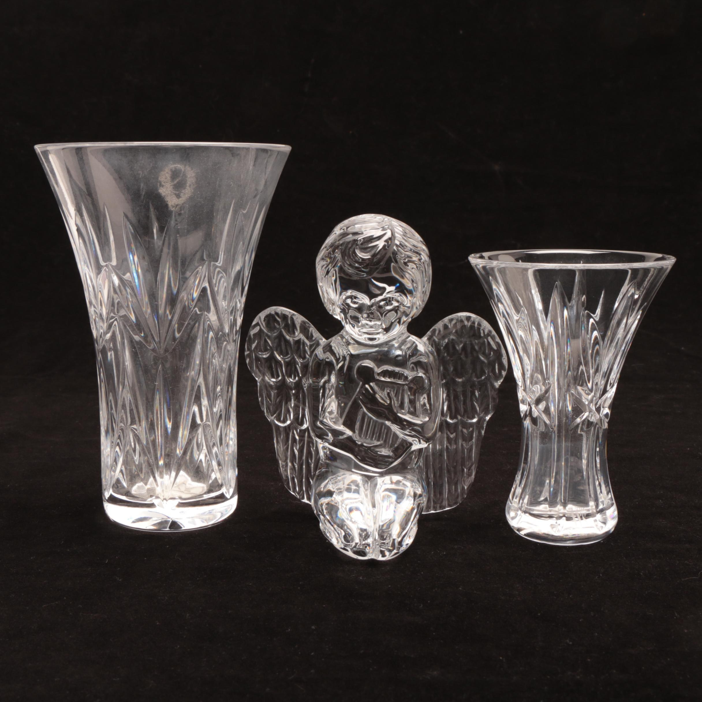 Waterford Crystal Vases with Angel