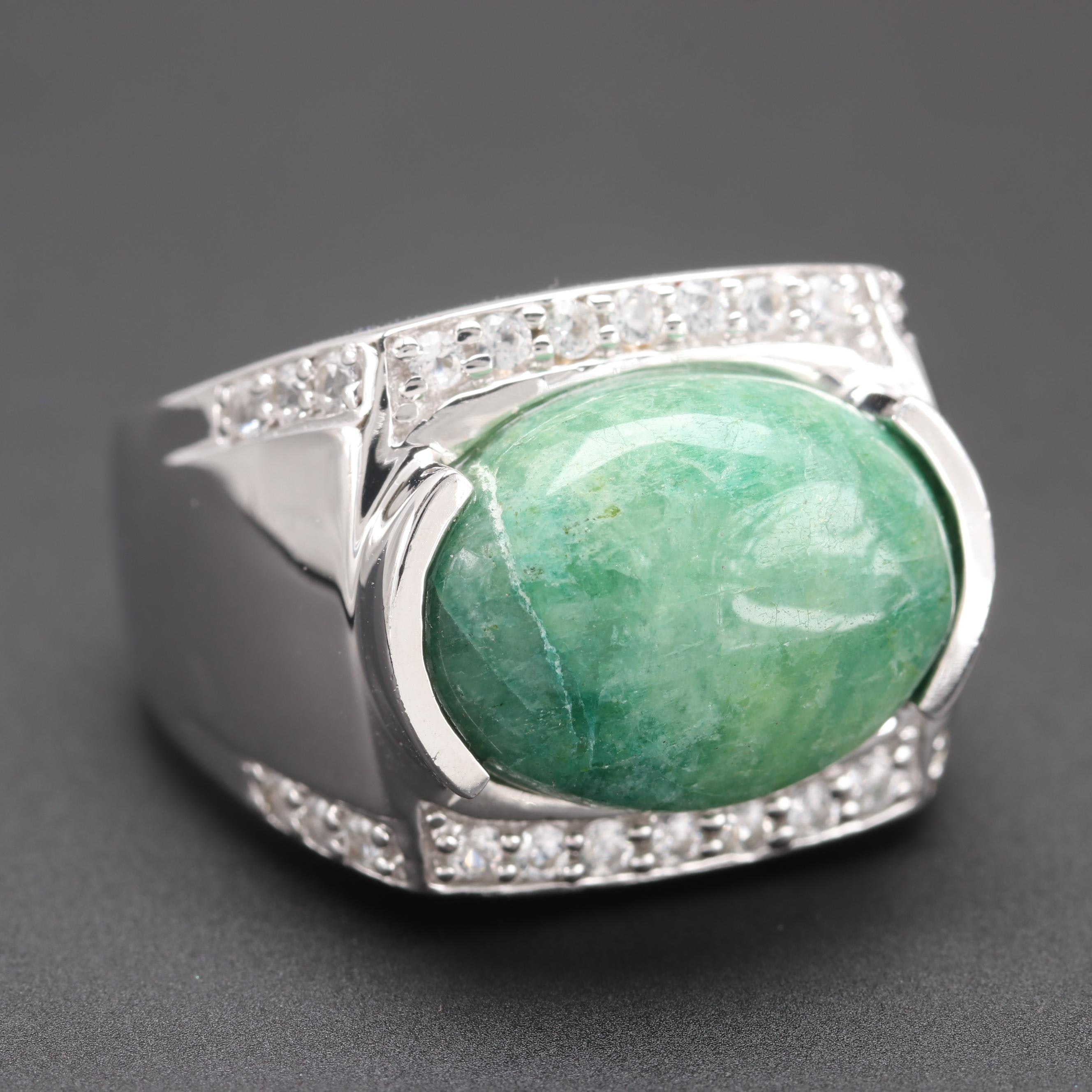 Sterling Silver Green Beryl and White Sapphire Ring