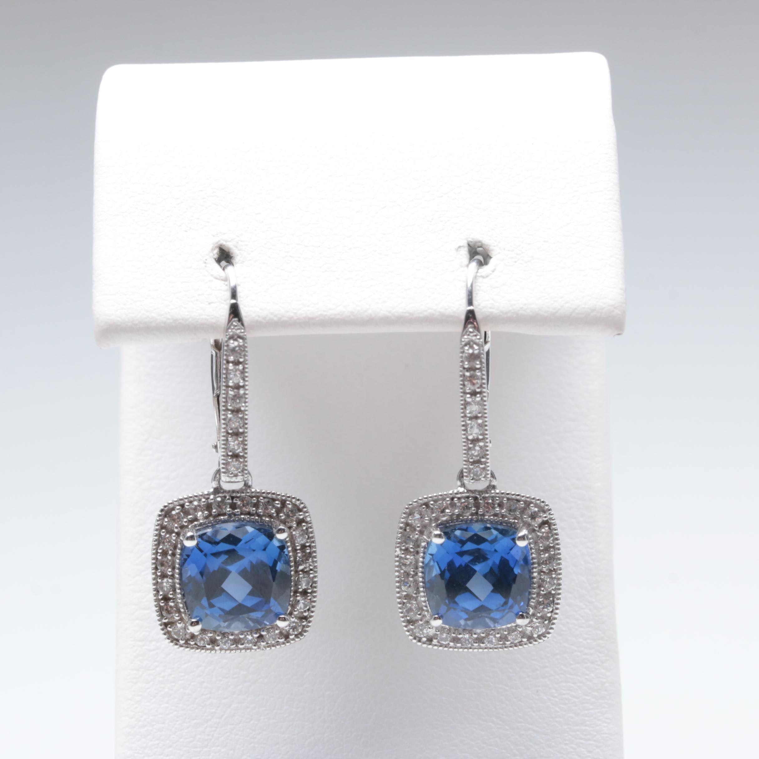 14K White Gold Synthetic Sapphire and White Sapphire Earrings