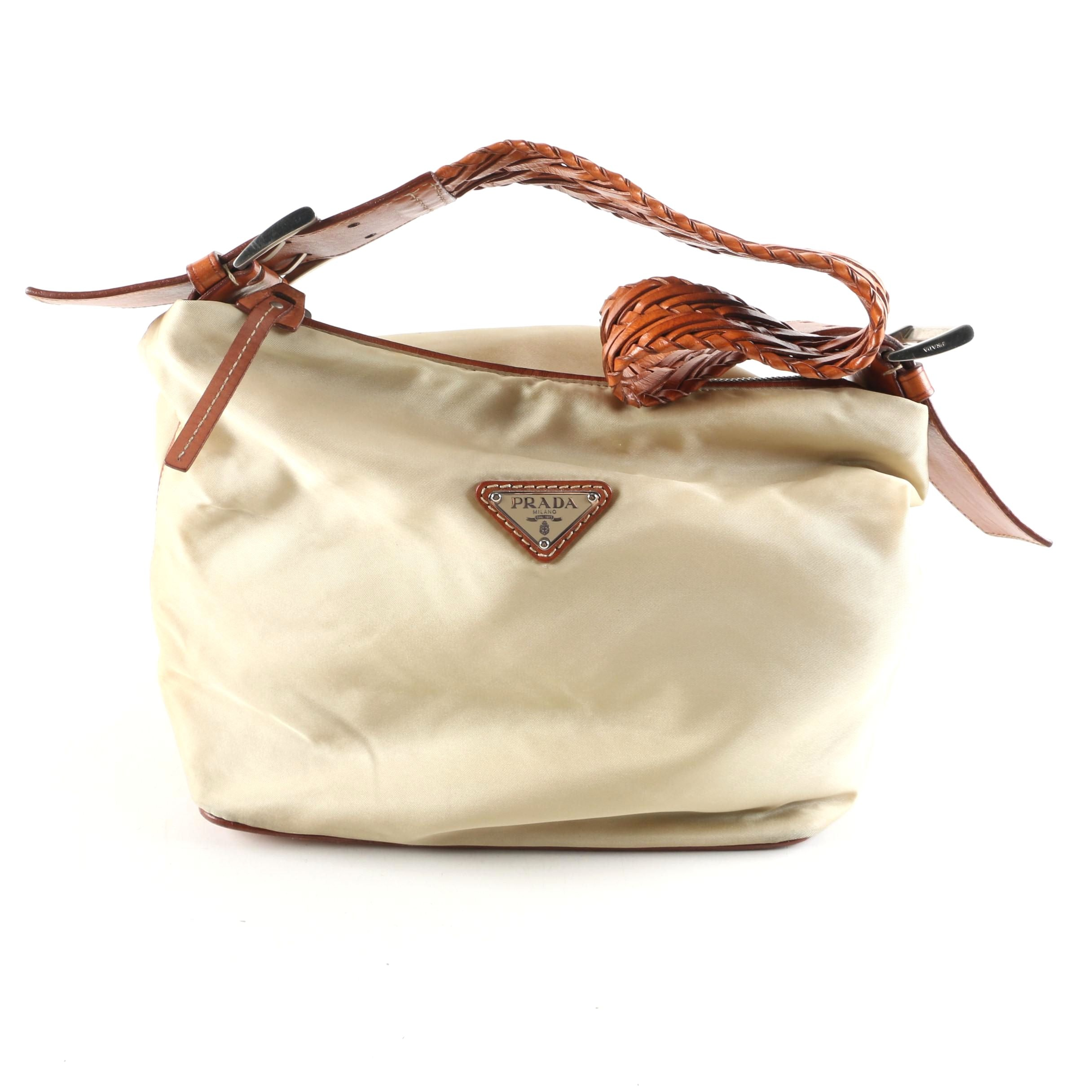 Prada Beige Nylon and Tan Leather Shoulder Bag