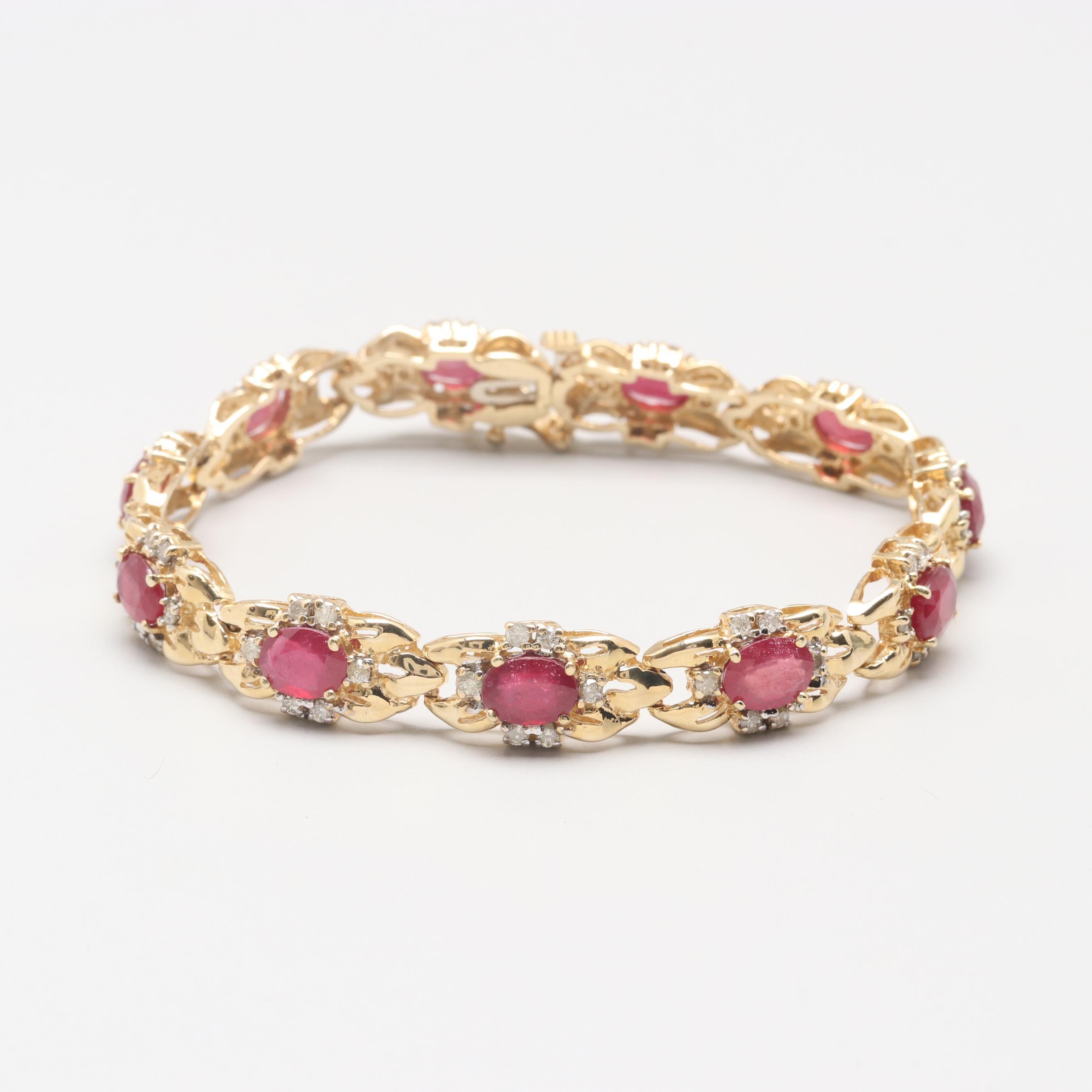 14K Yellow Gold Filled Corundum and 1.07 CTW Diamond Bracelet