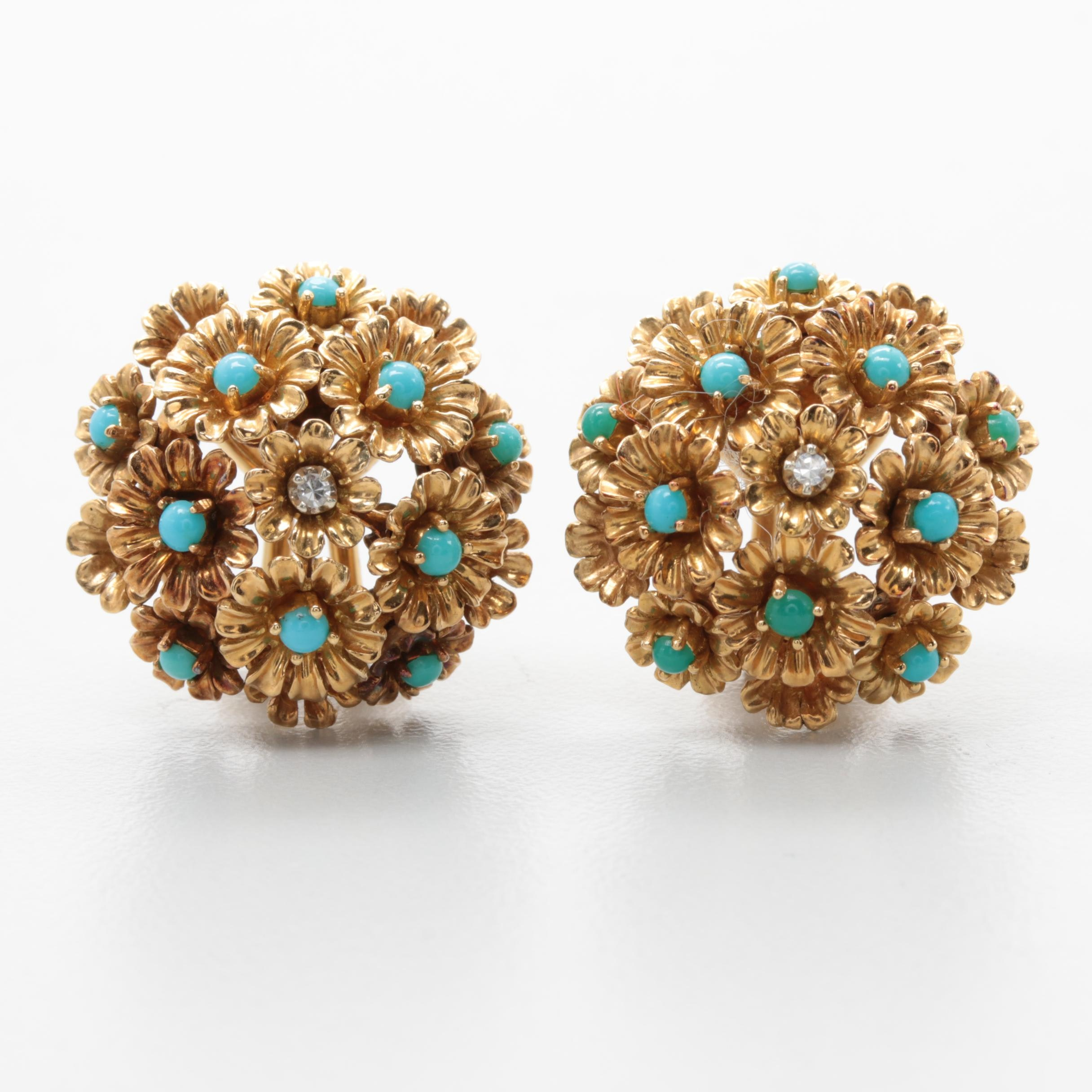 18K Yellow Gold Diamond and Turquoise Floral Omega Back Earrings
