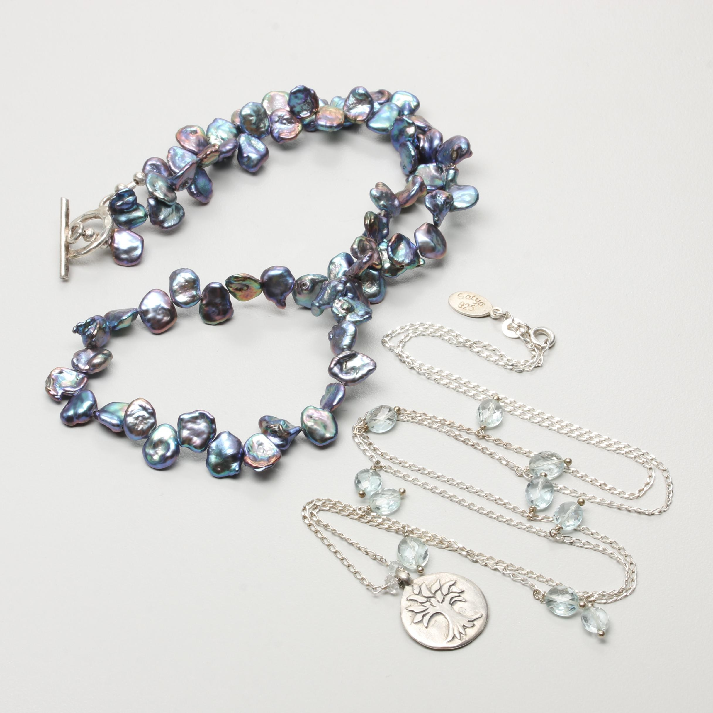 Sterling Silver Cultured Pearl and Aquamarine Necklaces Including Satya