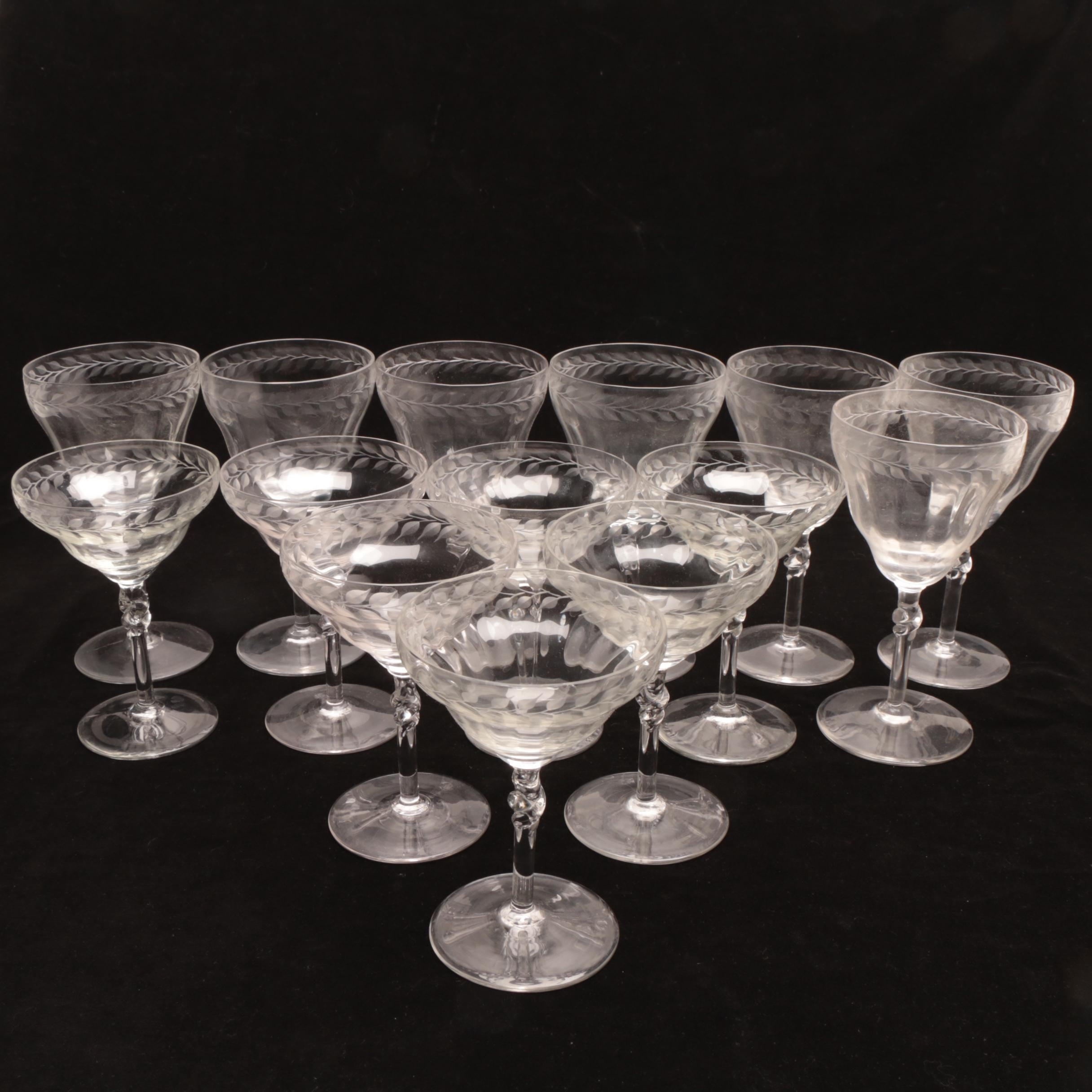 Etched Leaf Pattern Glass Stemware