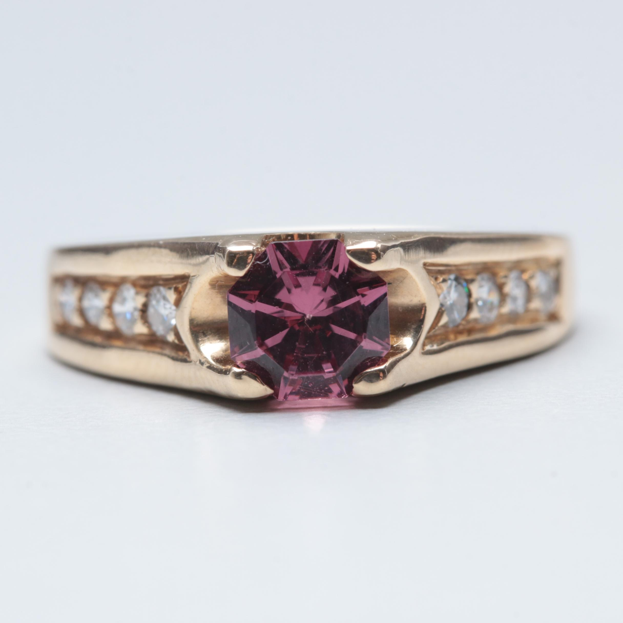 Krementz 14K Yellow Gold Rhodolite Garnet and Diamond Ring