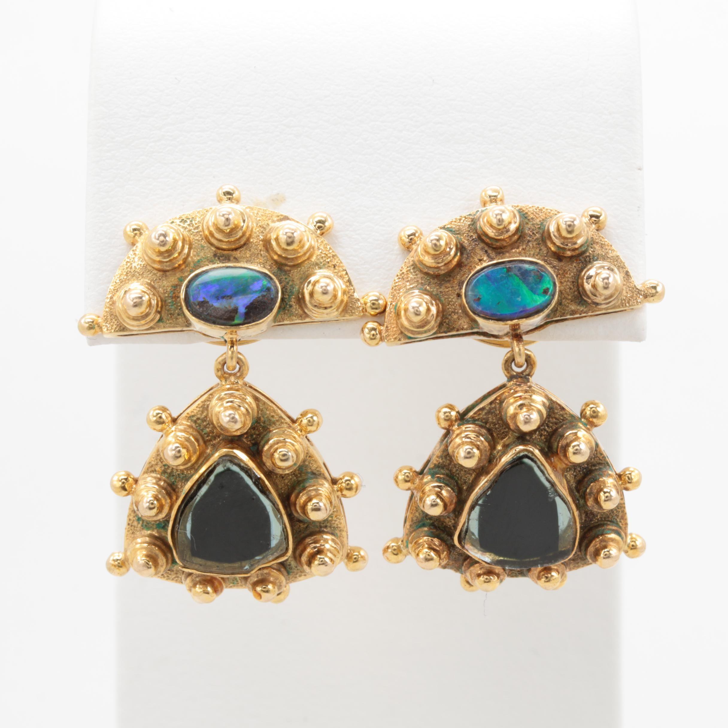14K Yellow Gold Opal and Tourmaline Dangle Earrings