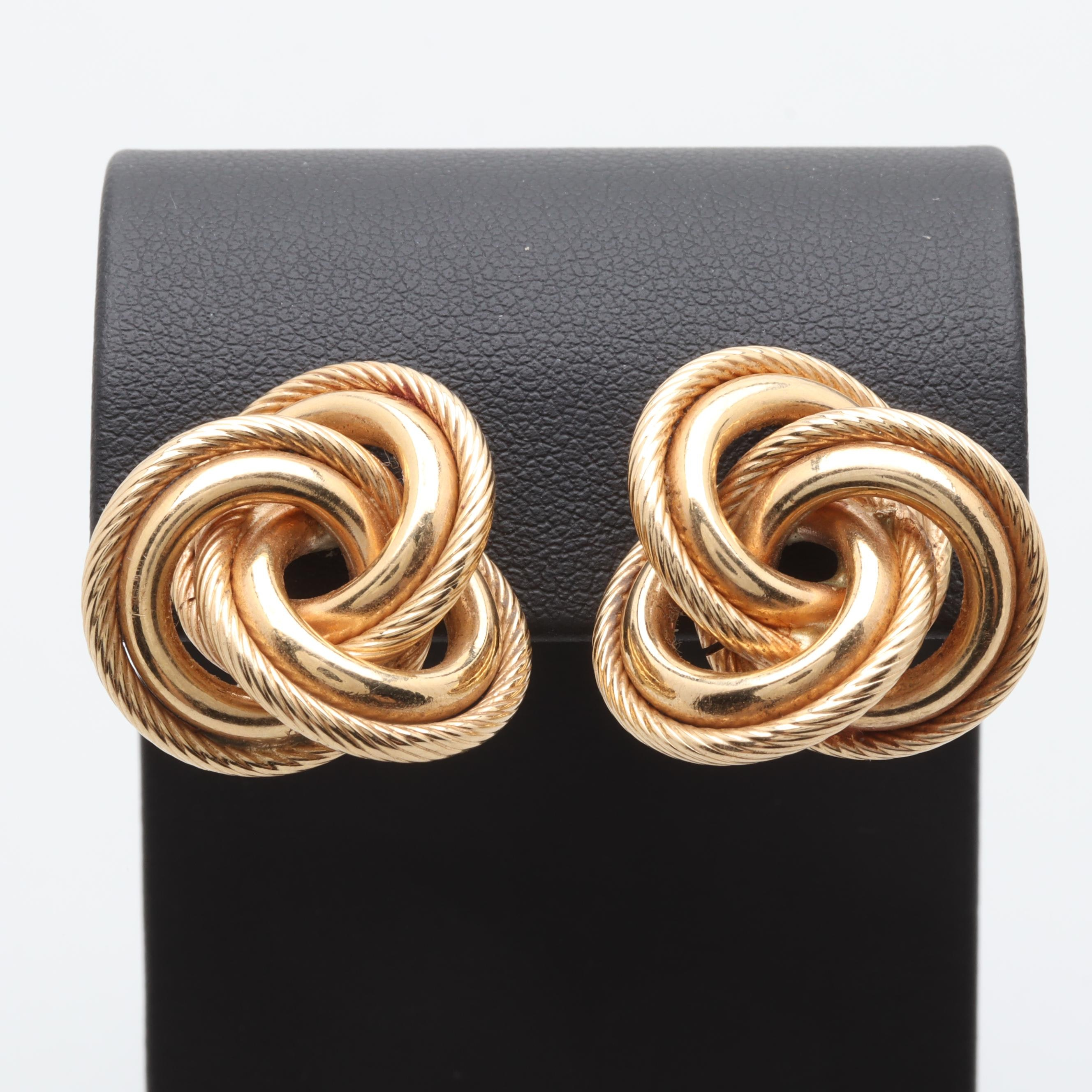 14K Yellow Gold Entwined Circles Earrings