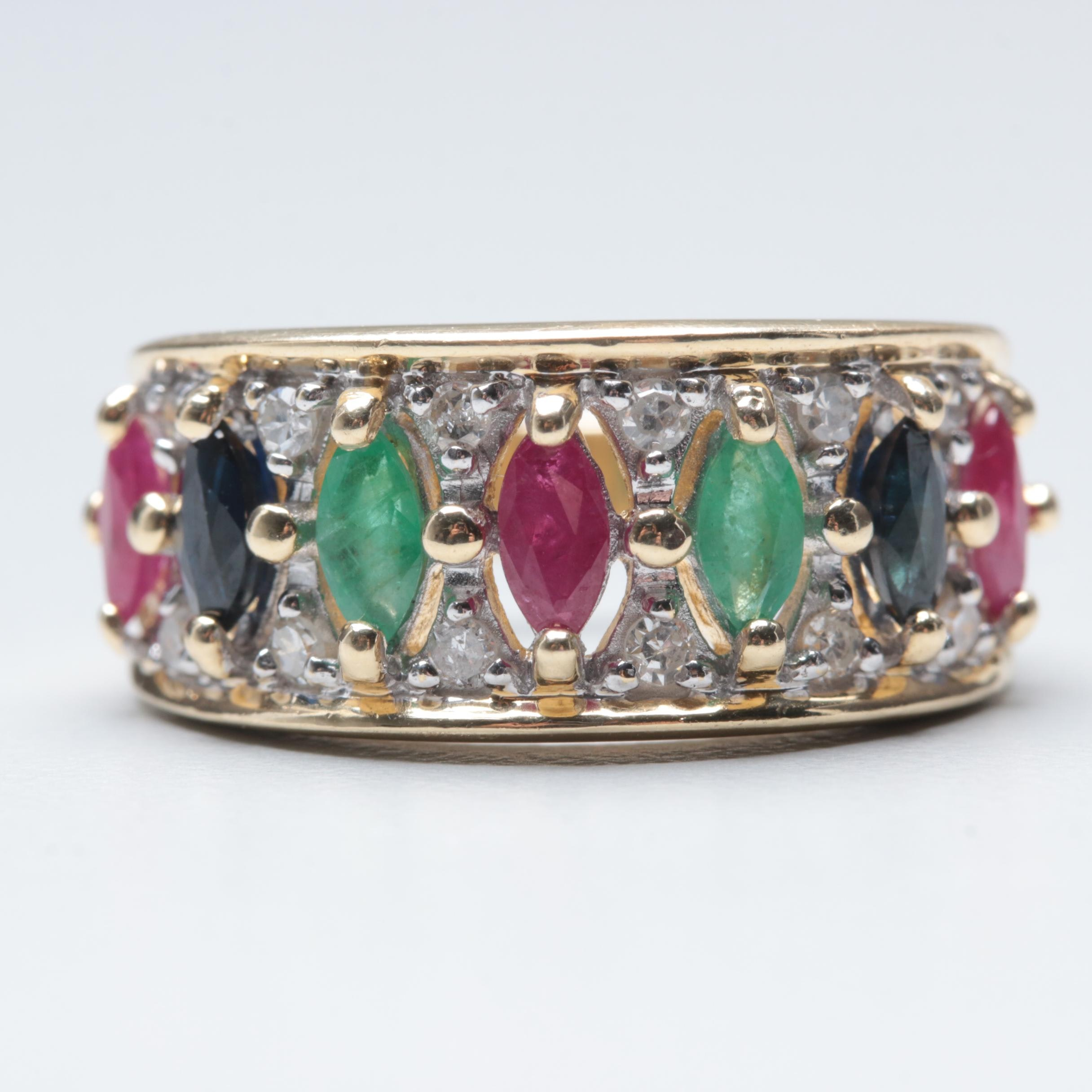 14K Yellow Gold Ruby, Sapphire, Emerald, and Diamond Ring