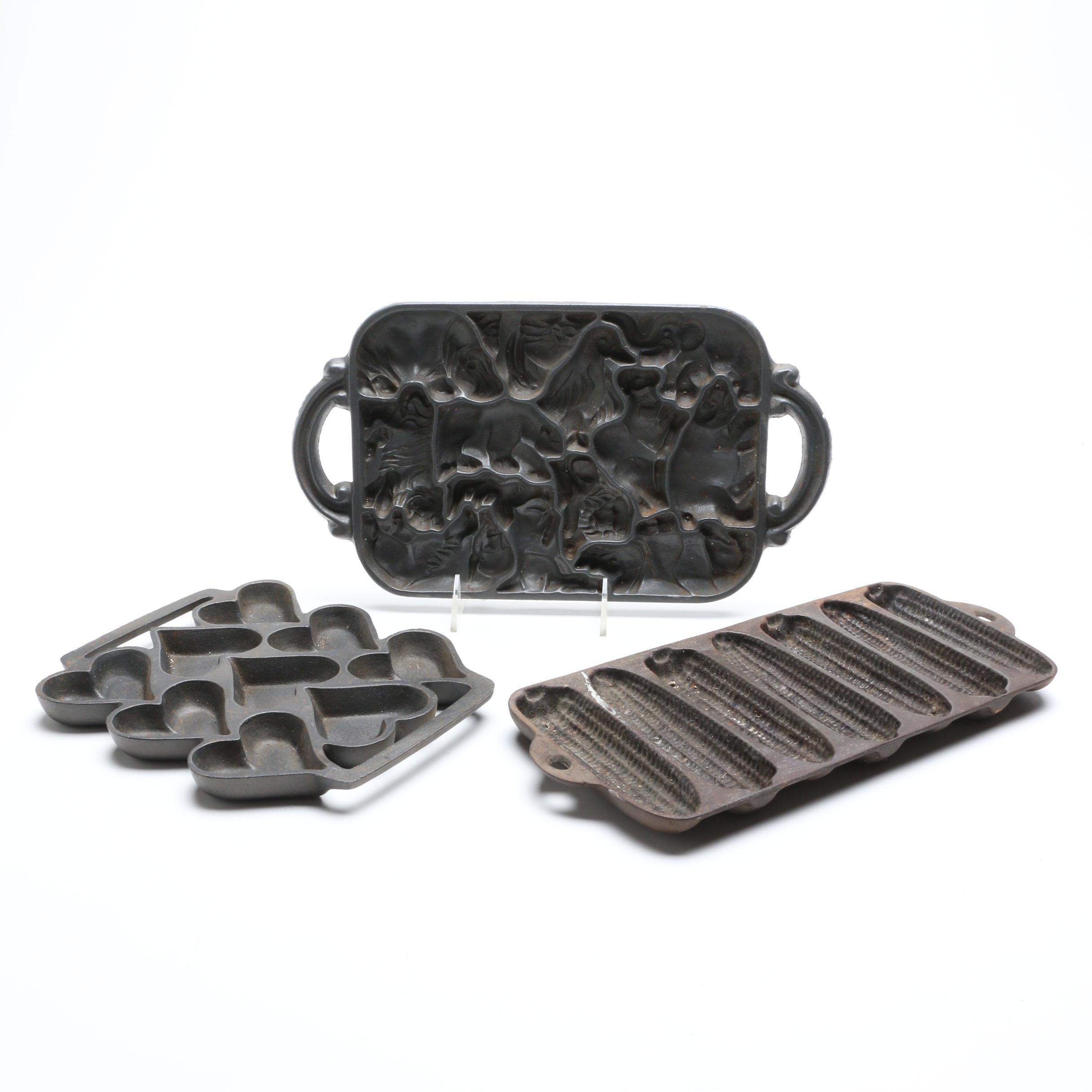Three Contemporary Cast Iron Corn and Muffin Molds