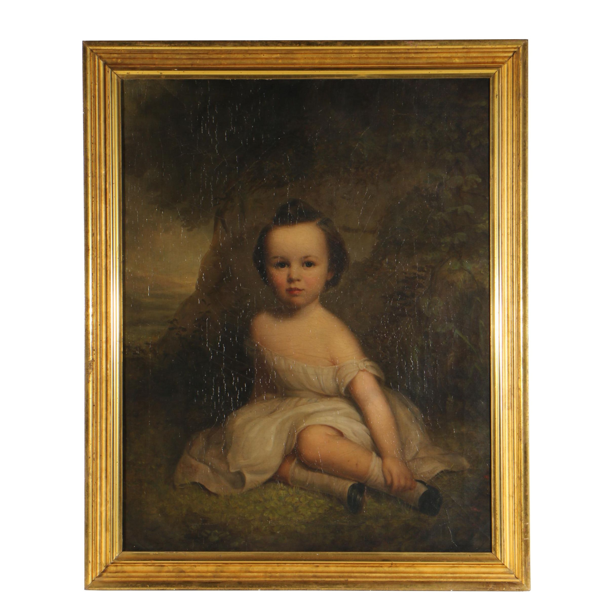 American School Portrait of a Child Oil Painting