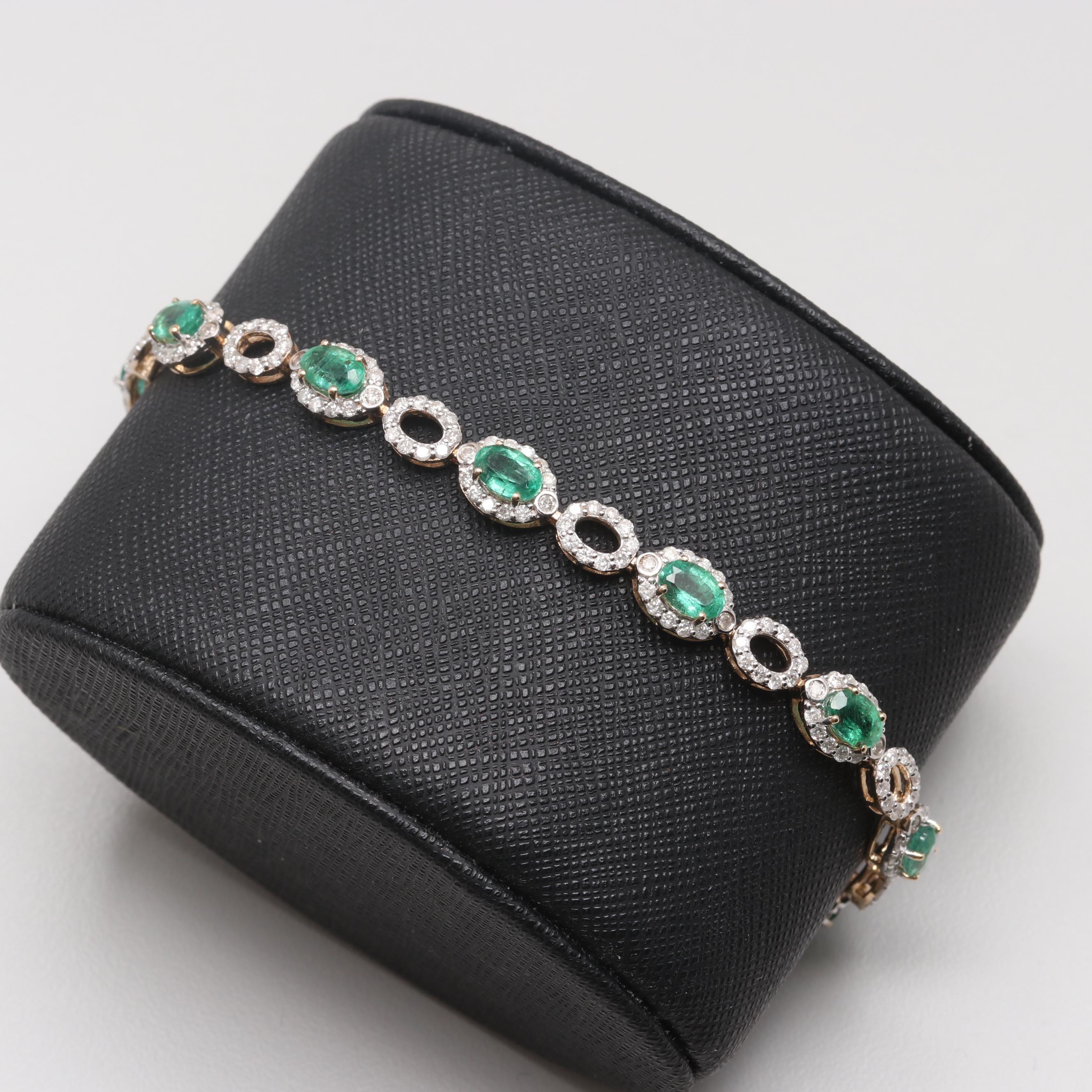 14K Yellow Gold Emerald and 2.75 CTW Diamond Bracelet