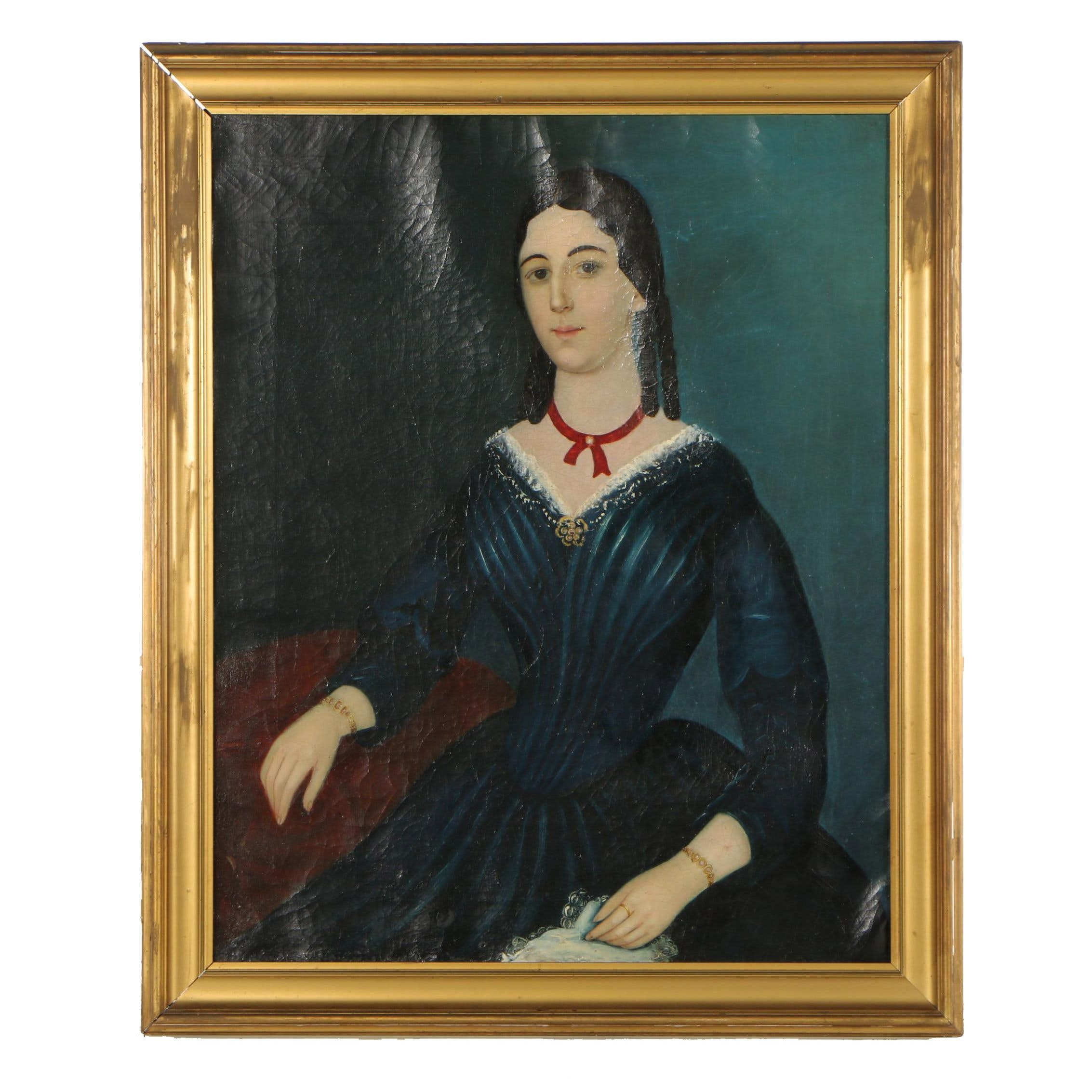 American School, Portrait of a Lady, Oil Painting, Late 18th Century