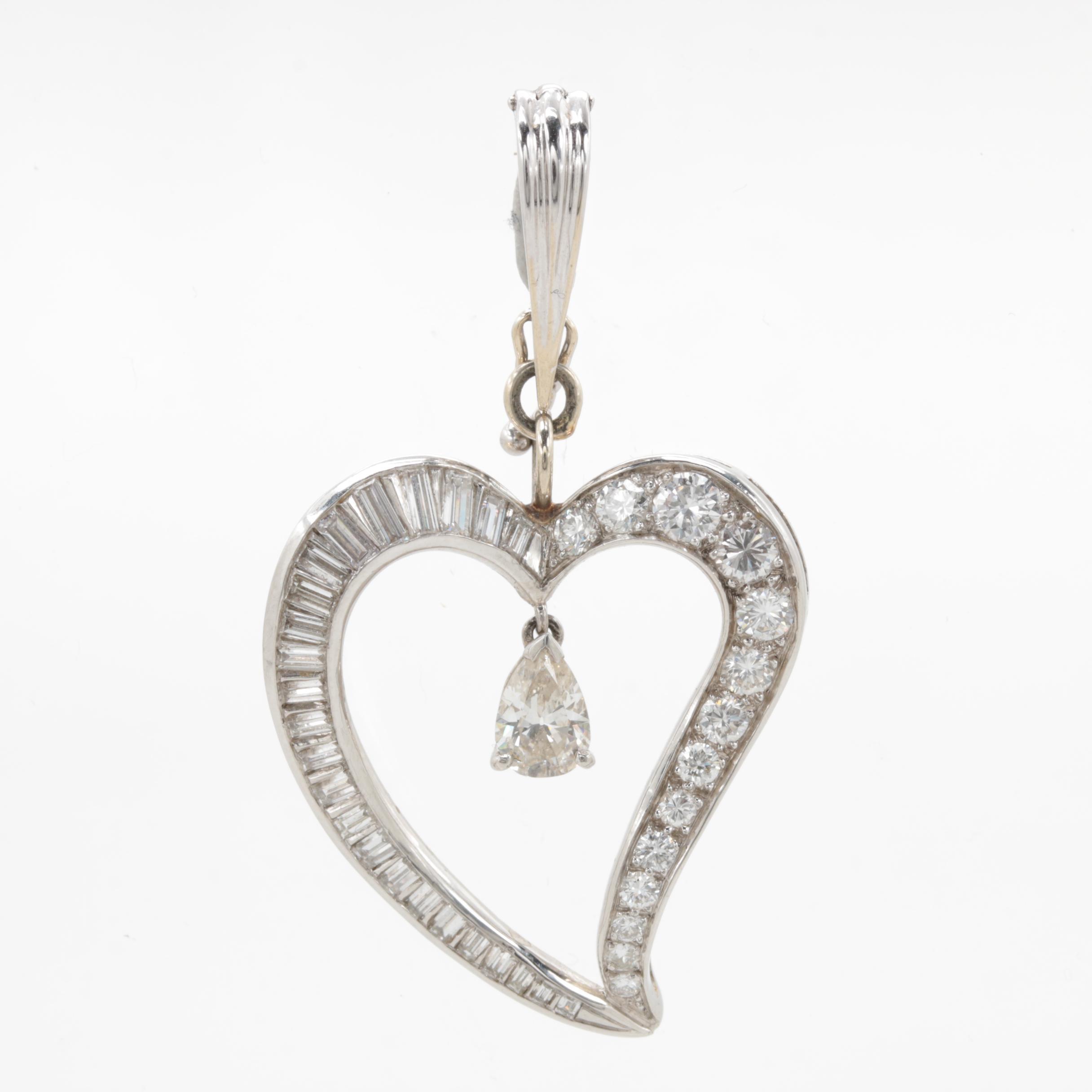 Platinum 2.05 CTW Diamond Heart Enhancer Pendant