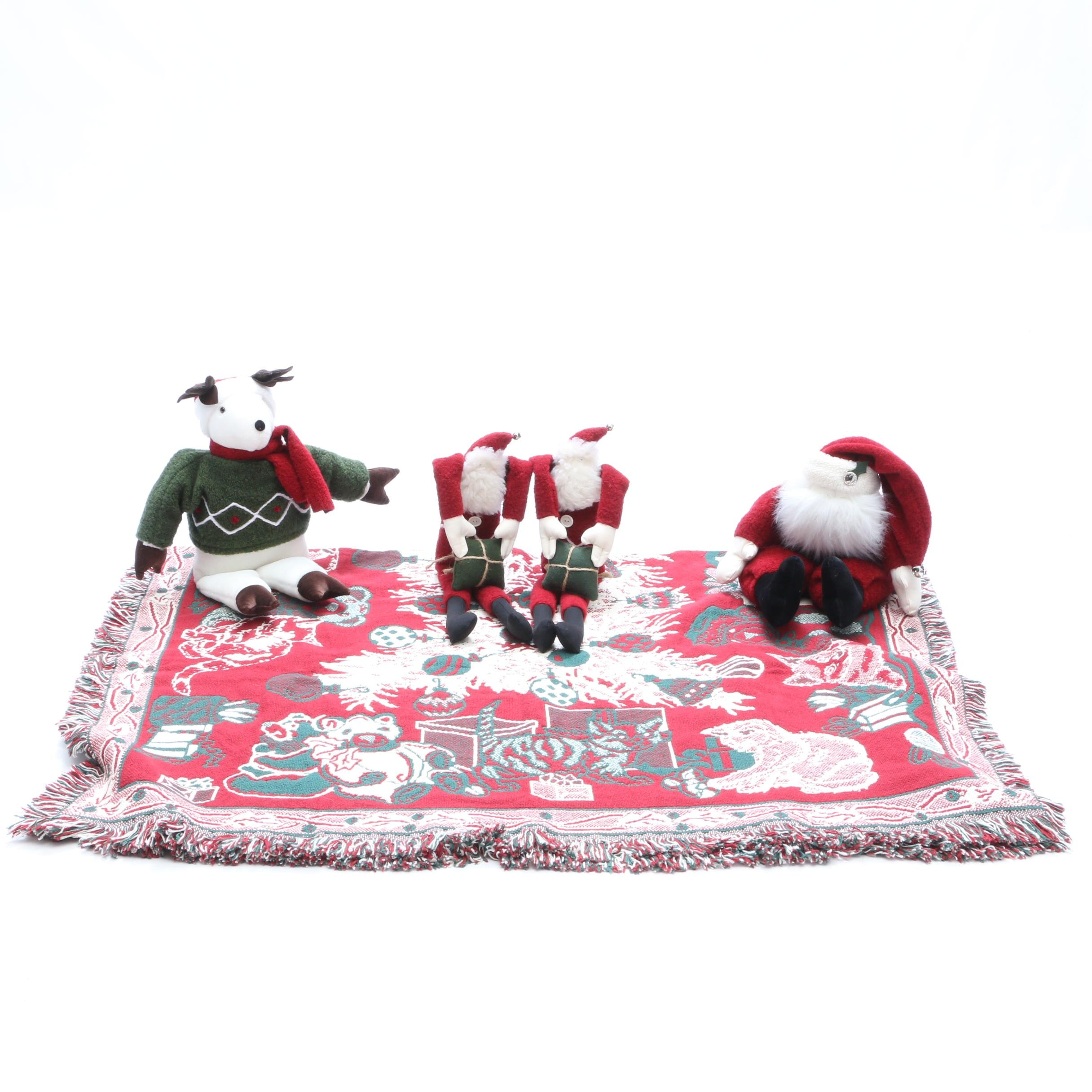 Woof & Poof Christmas and Music Box Decorations with Throw Blanket