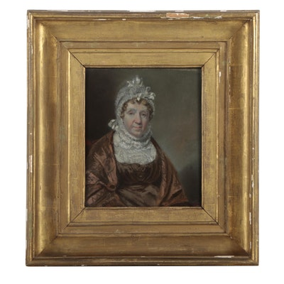 John Rubens Smith 1810 Pastel Portrait of Mrs. Woodcock