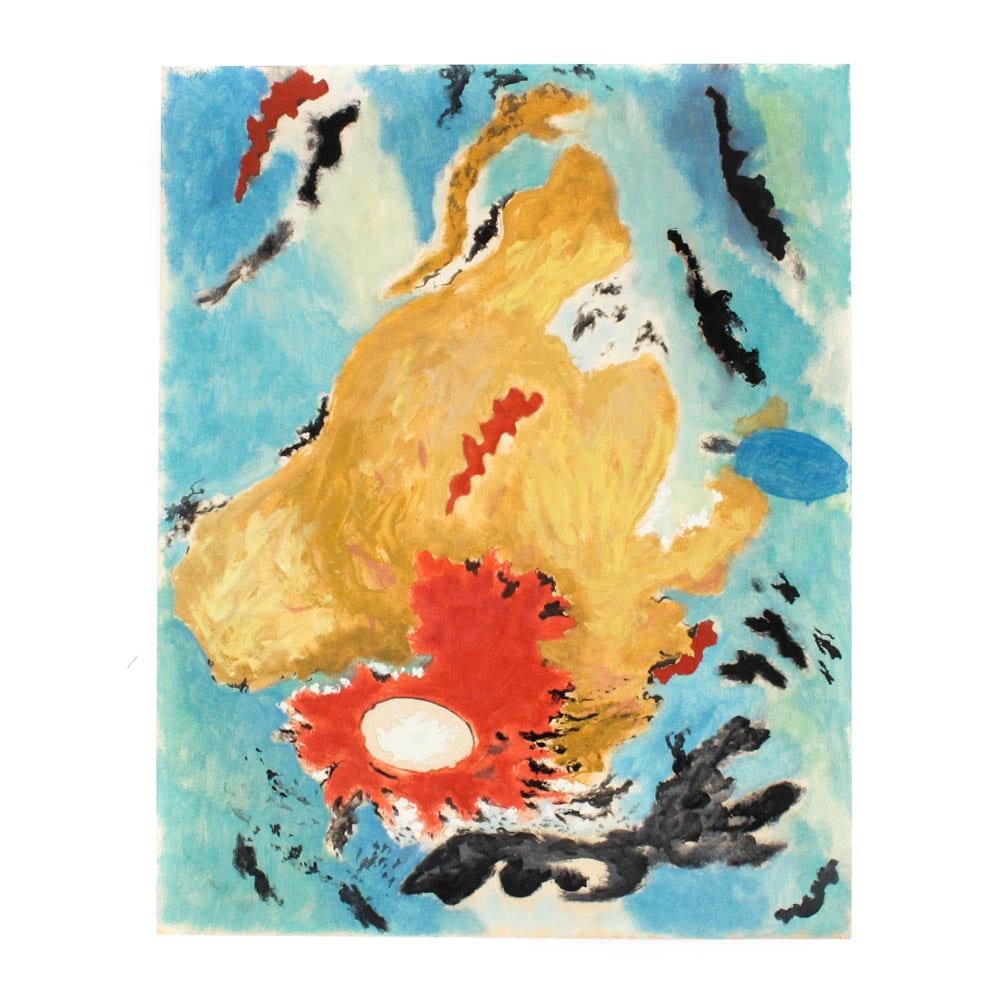 James Yoko Oil on Paper Painting