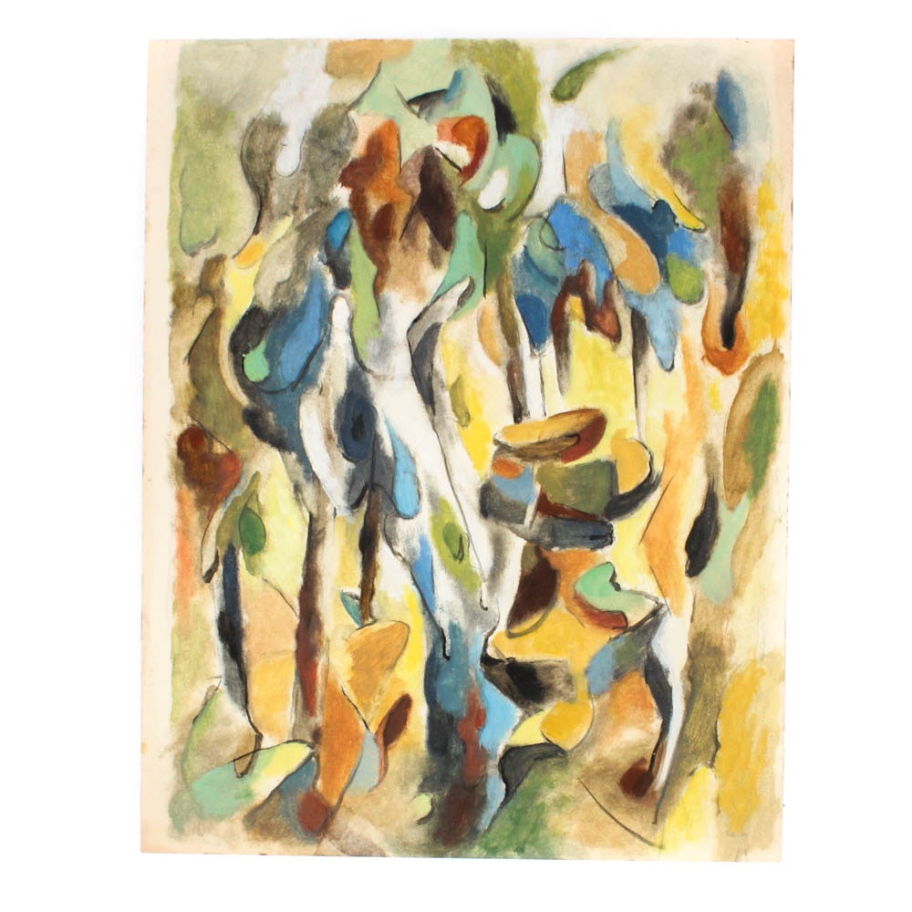 James Yoko 1954 Oil on Paper Painting