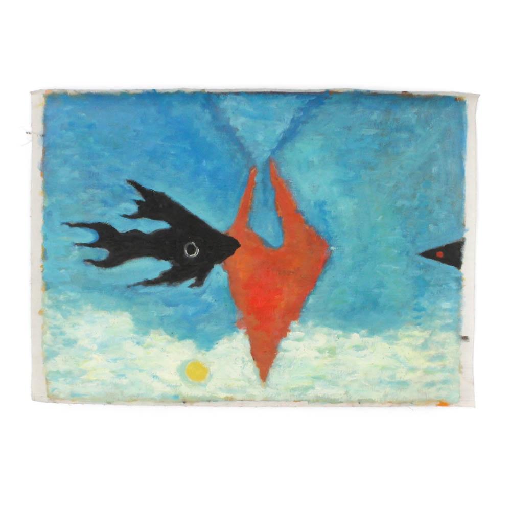 James Yoko 1963 Oil on Canvas Painting