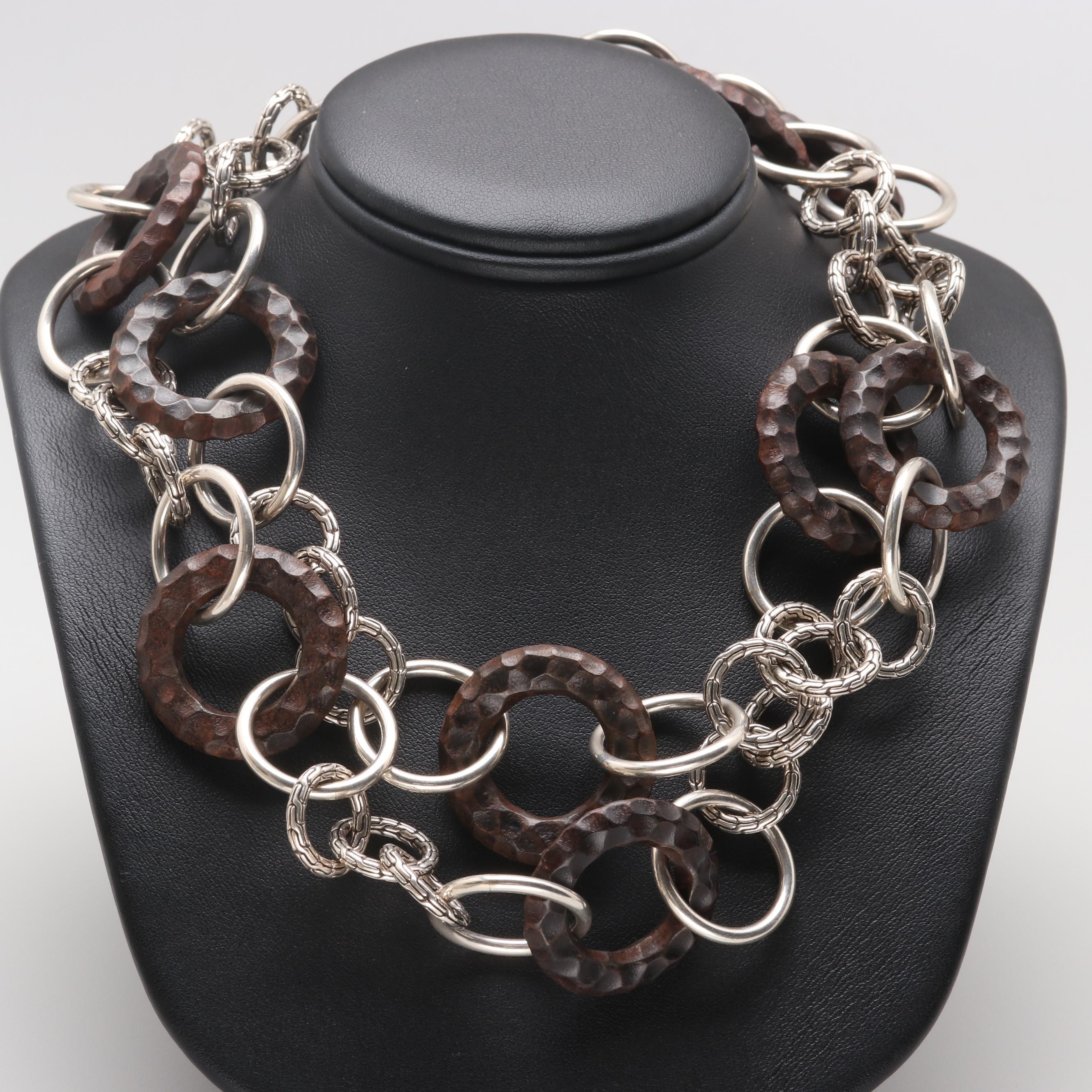 John Hardy Sterling Silver Textured Linked and Rose Wood Linked Necklace