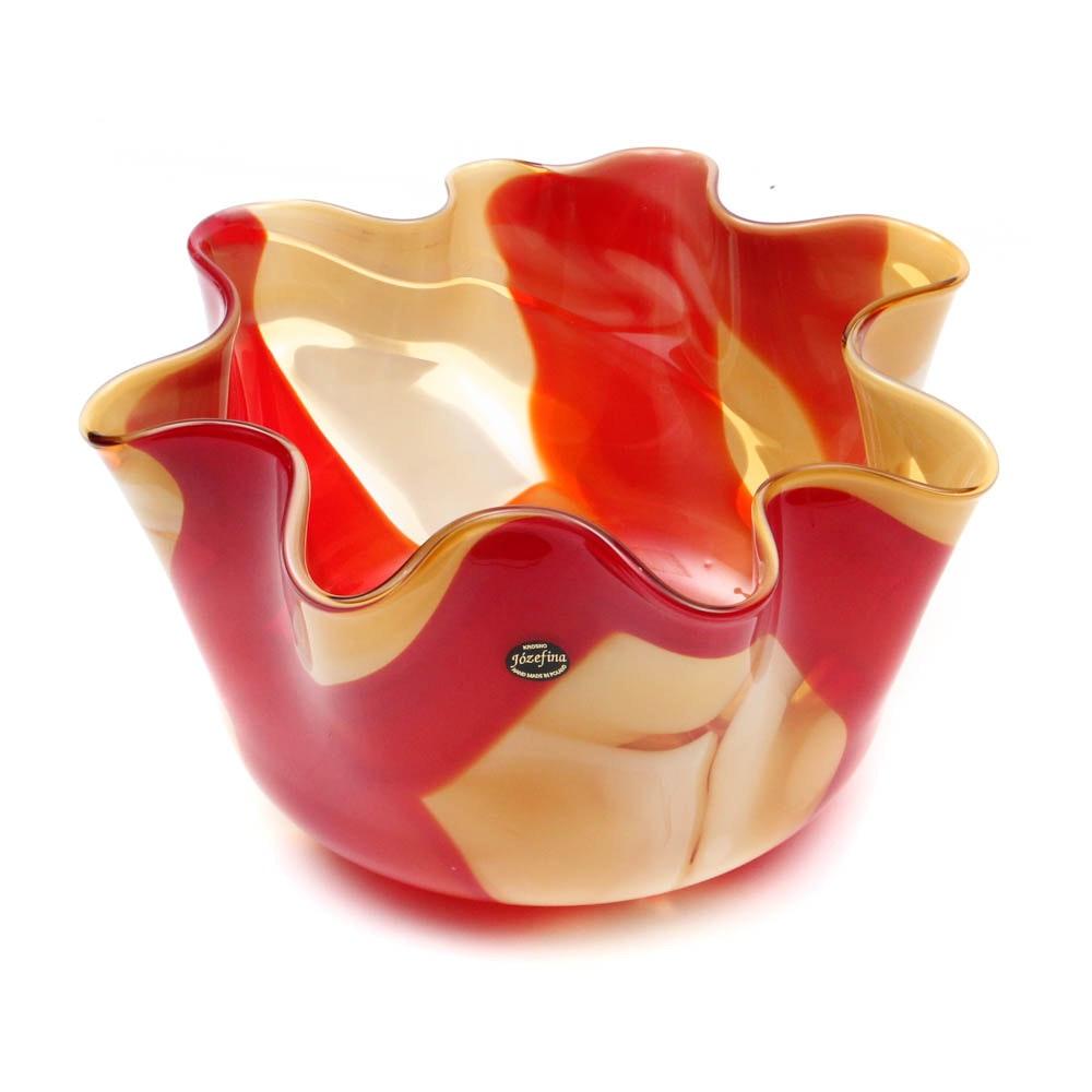 Polish Jozefina Hand-Blown Art Glass Bowl