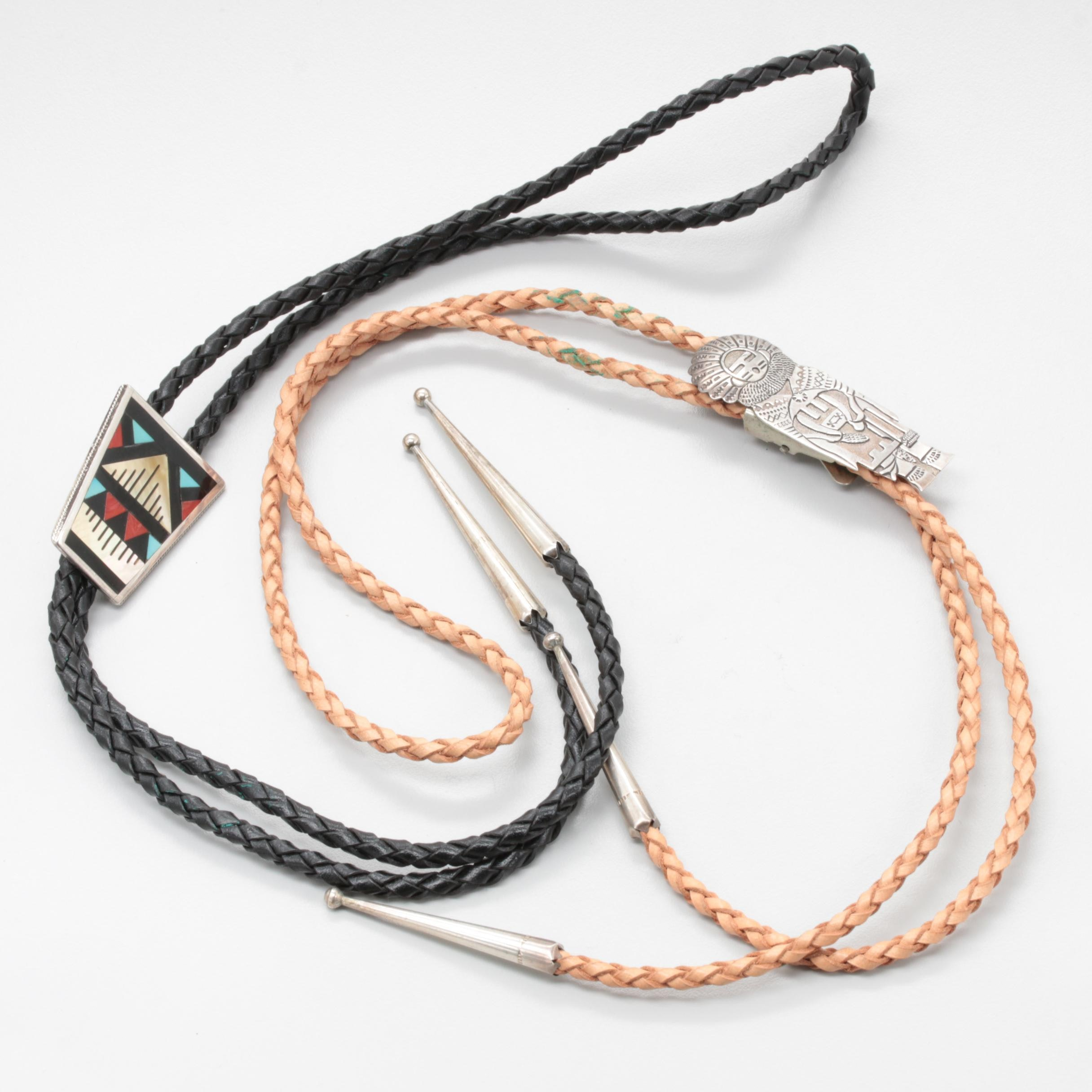 Southwest Style Sterling Silver Bolo Ties Including Coral and Mother of Pearl