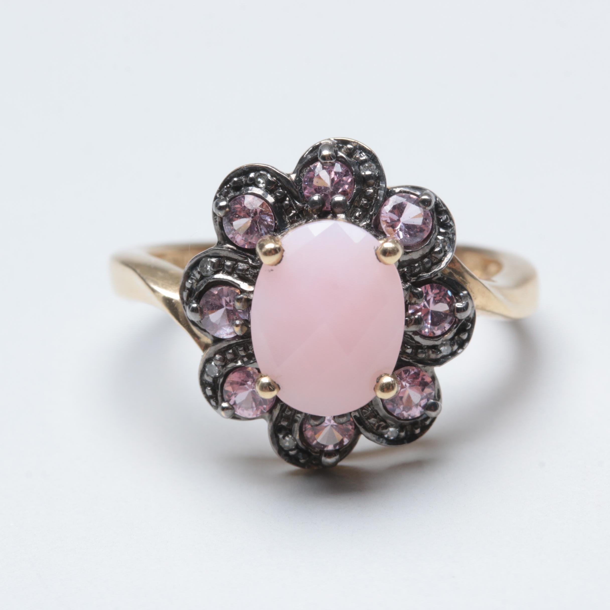 10K Yellow Gold Common Opal, Pink Sapphire and Diamond Ring