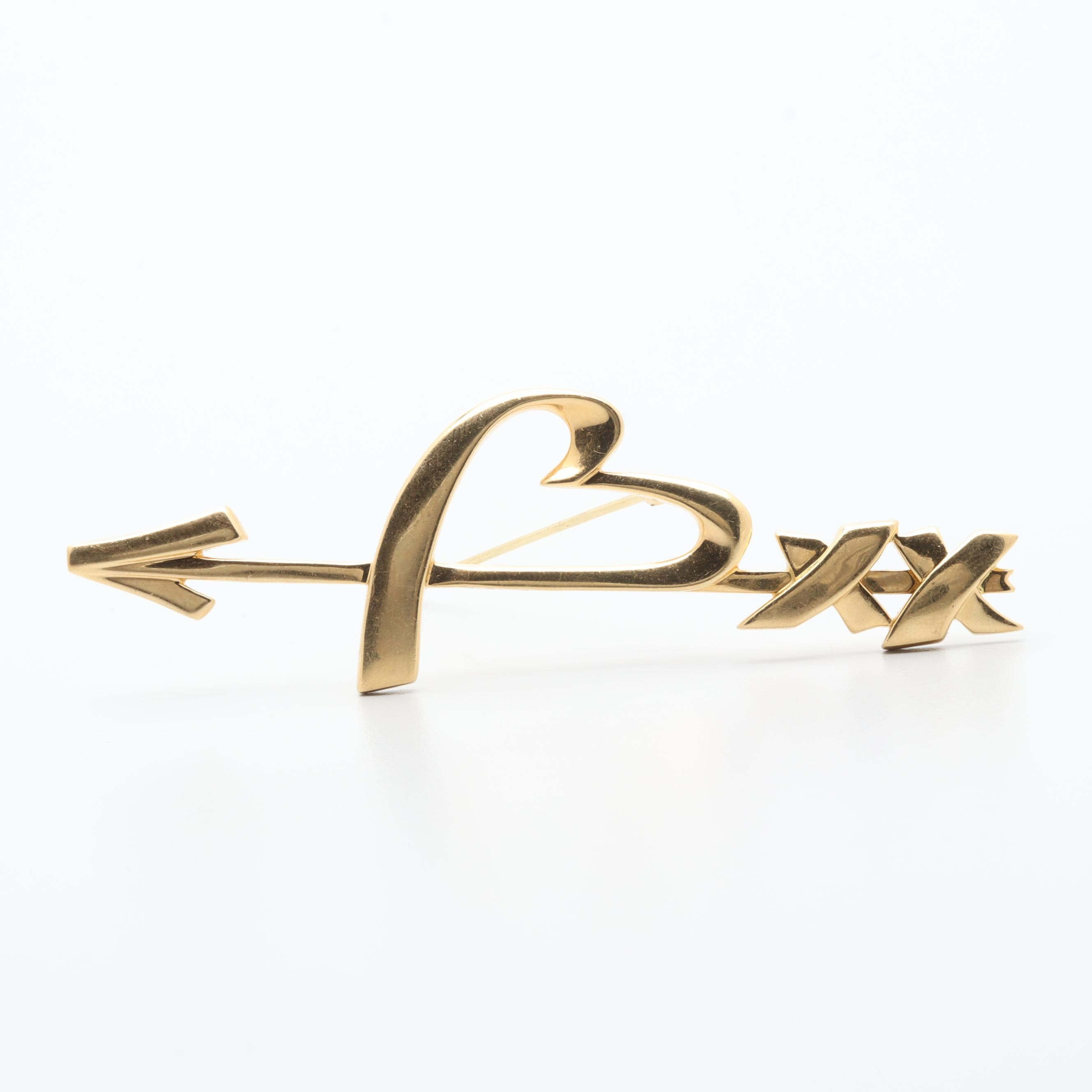 Paloma Picasso for Tiffany & Co. 18K Yellow Gold Heart and Arrow Brooch
