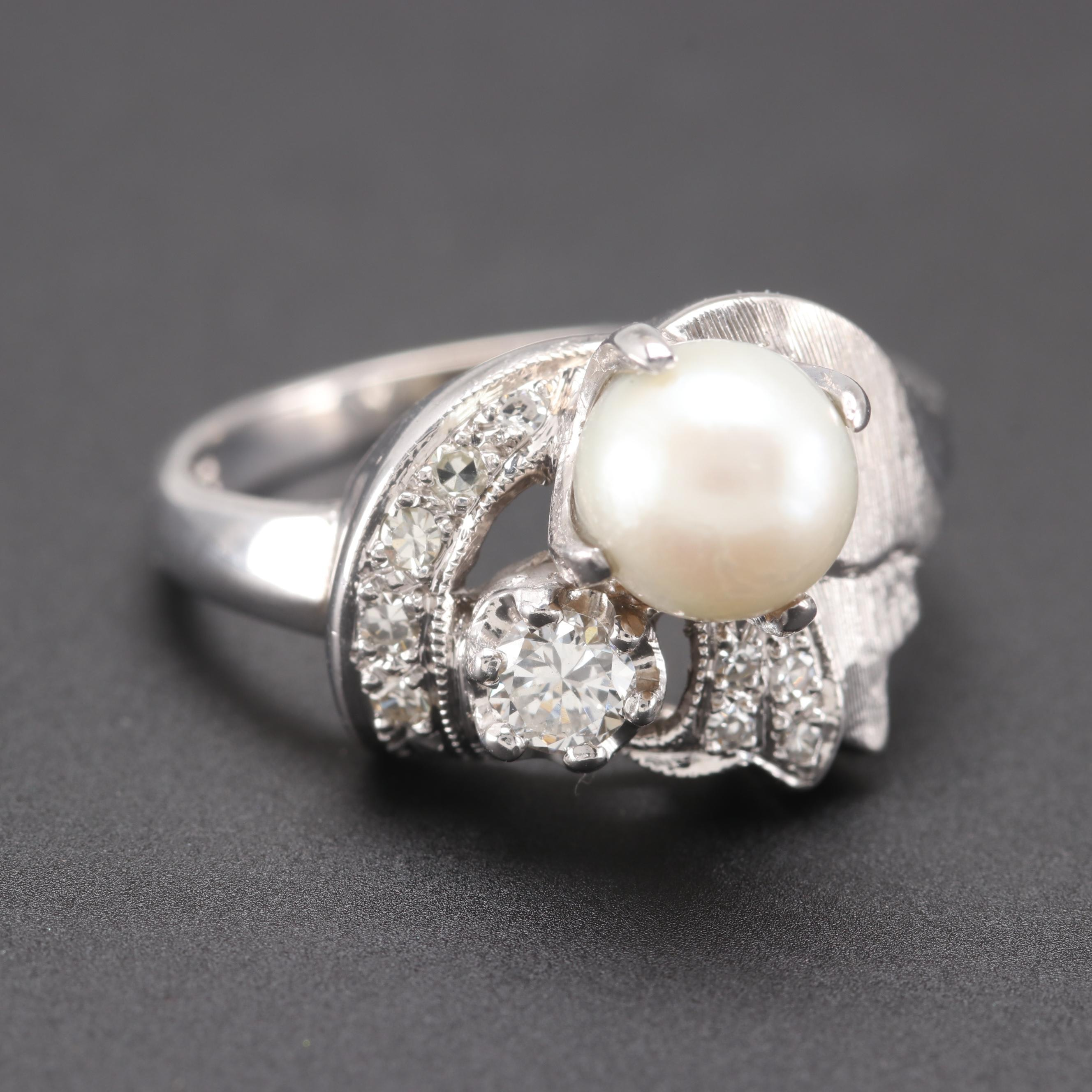 Retro 14K White Gold Cultured Pearl and Diamond Ring