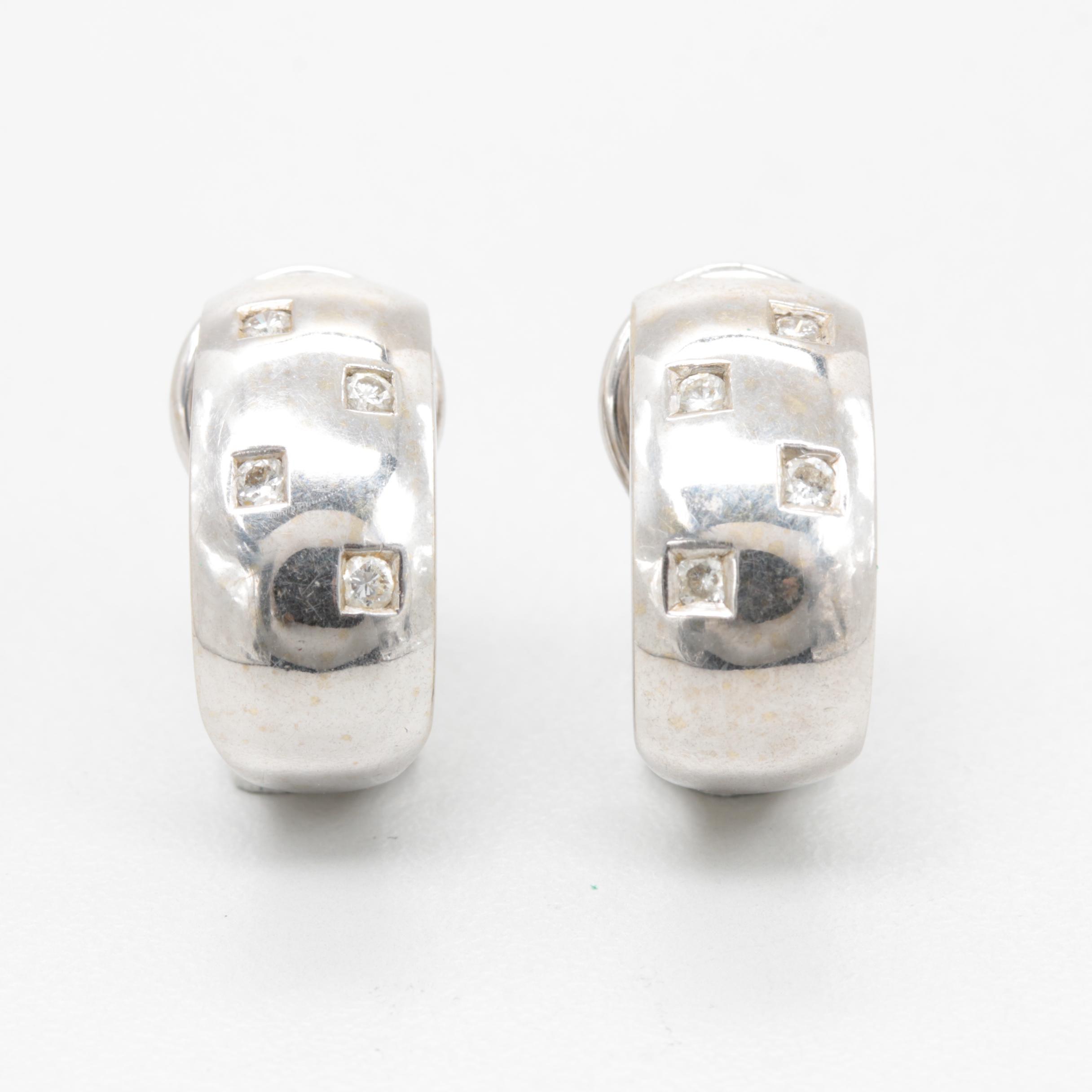 14K White Gold Diamond Accented J-Hoop Omega Back Earrings