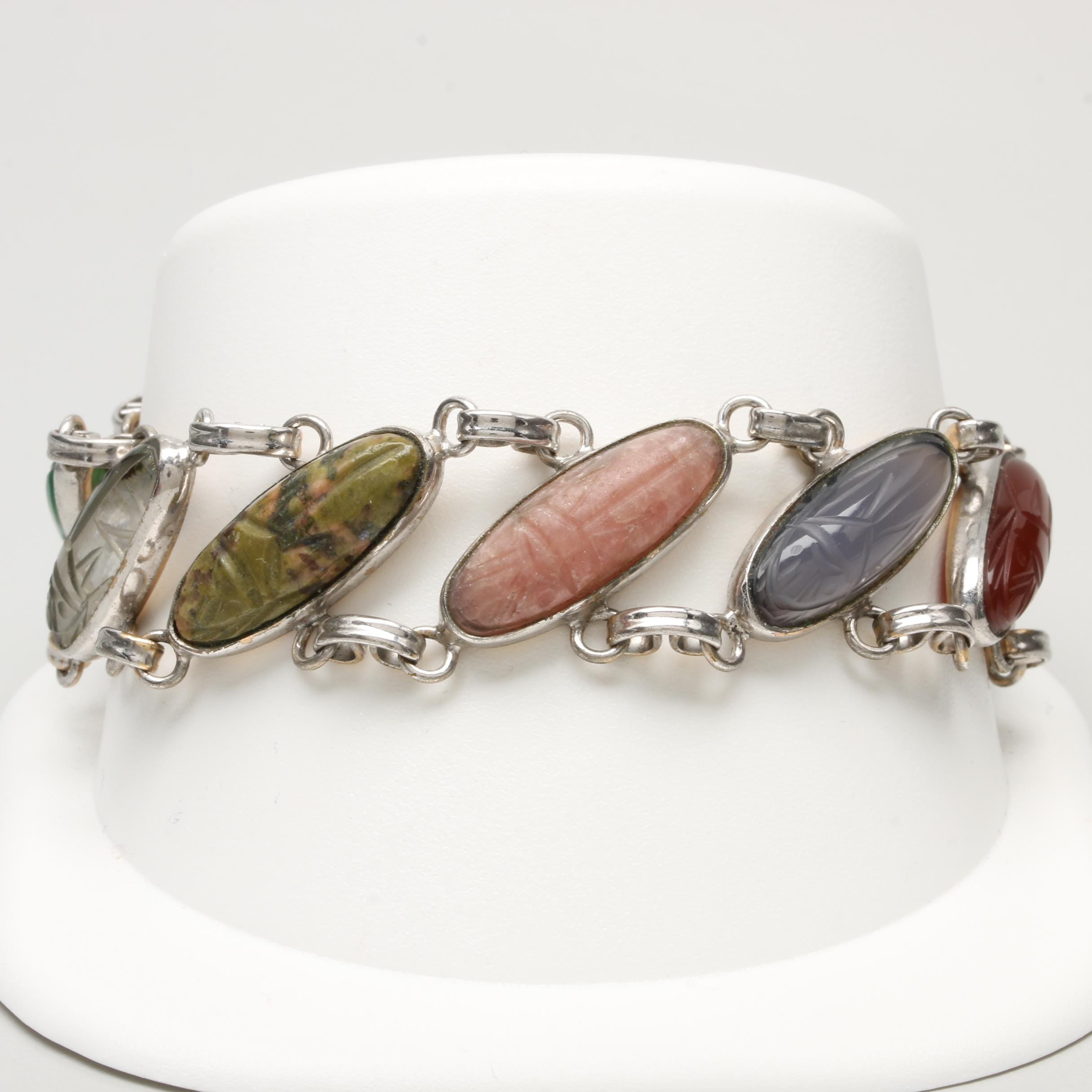 Ronci Gold Filled Gemstone Scarab Bracelet with Sterling Silver Clasp
