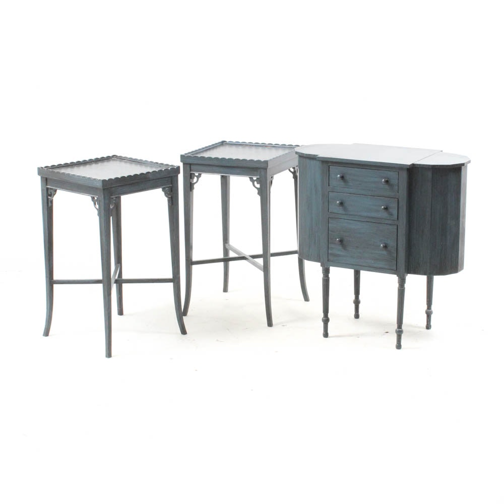 Painted Sewing Cabinet with Pair of End Tables by Imperial