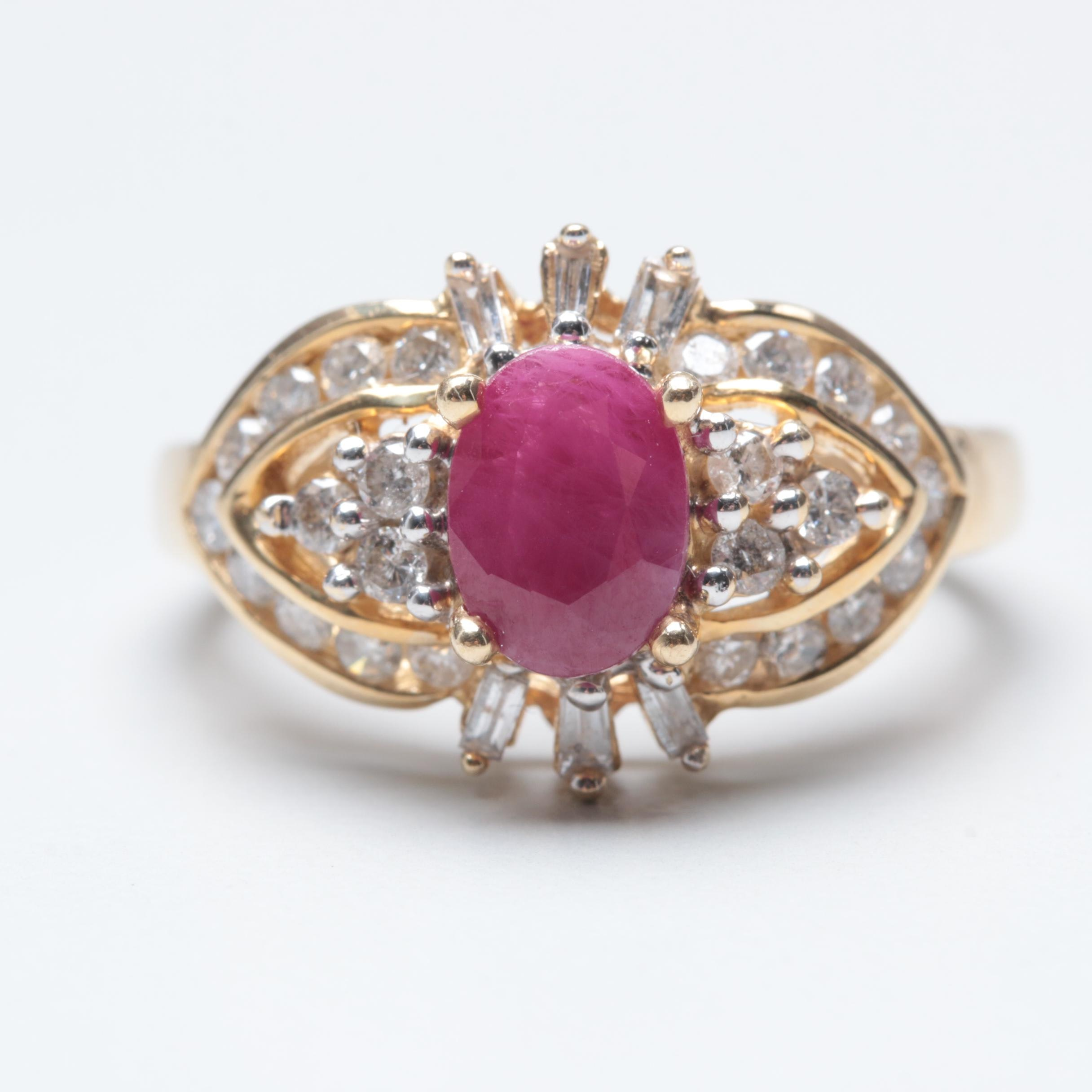 Alwand Vahan 14K Yellow Gold Ruby and Diamond Ring