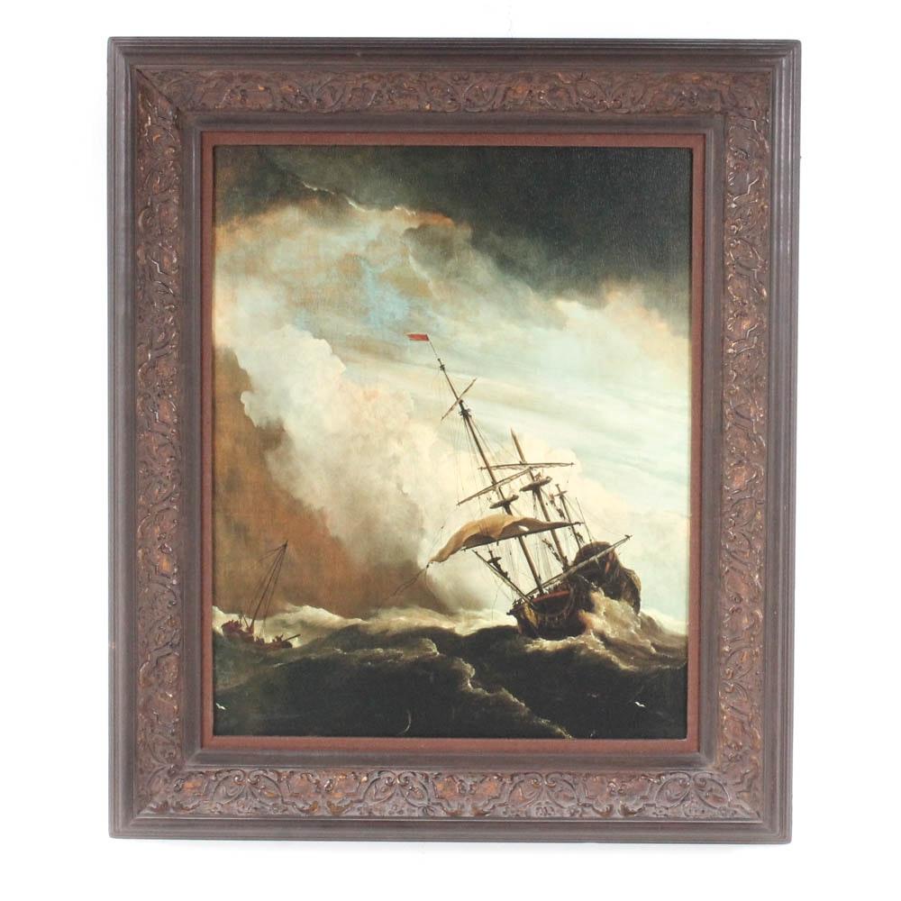 "Van de Velde Offset Lithograph ""Frigate in Storm"""
