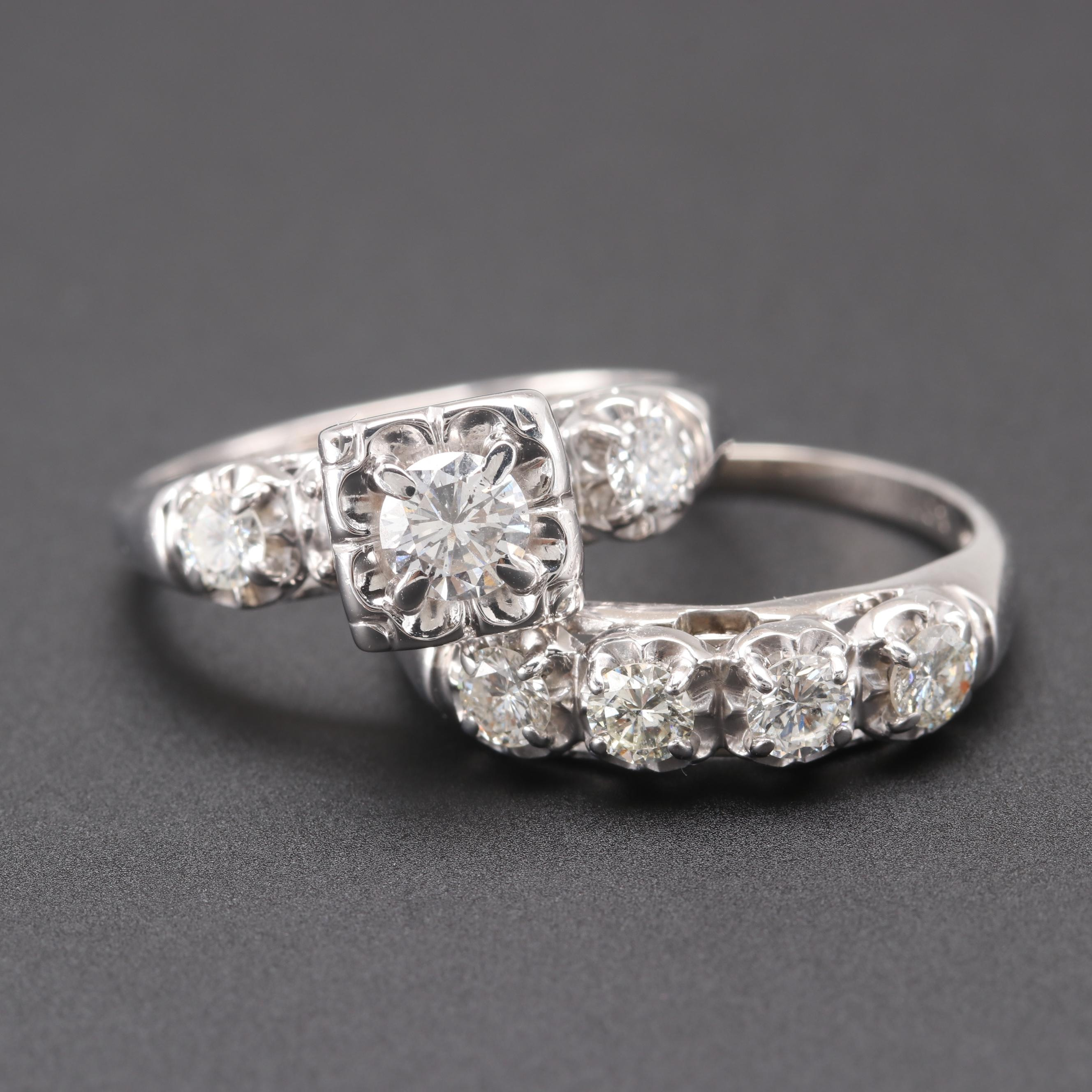 Vintage 14K White Gold 0.99 CTW Diamond Ring Set