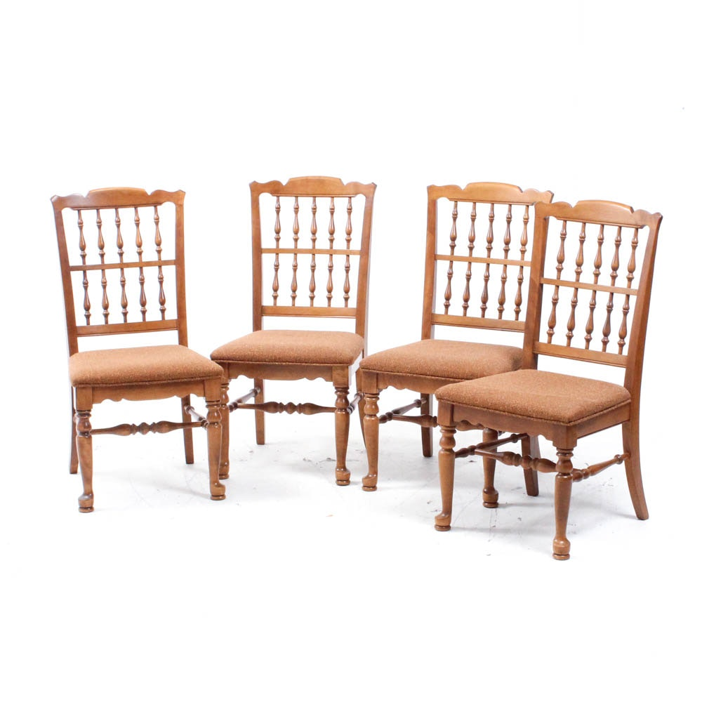 Four Wooden Spindle Back Dining Chairs