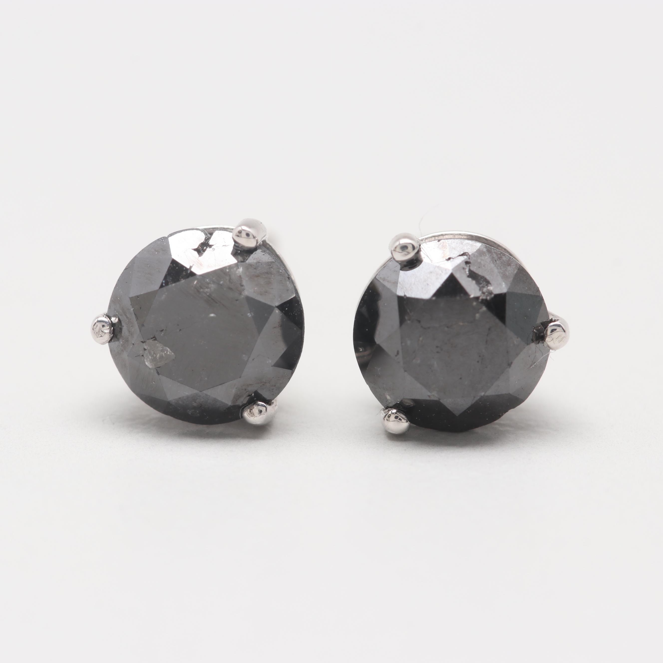 14K White Gold 2.02 CTW Black Diamond Stud Earrings