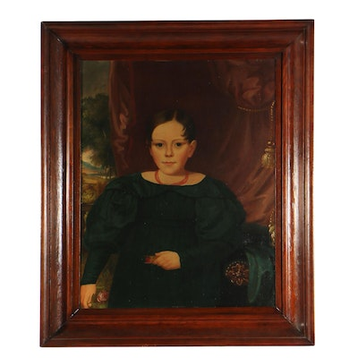 "American School, ""Portrait of Dorothy Place"", Oil on Canvas, Early 19th Century"