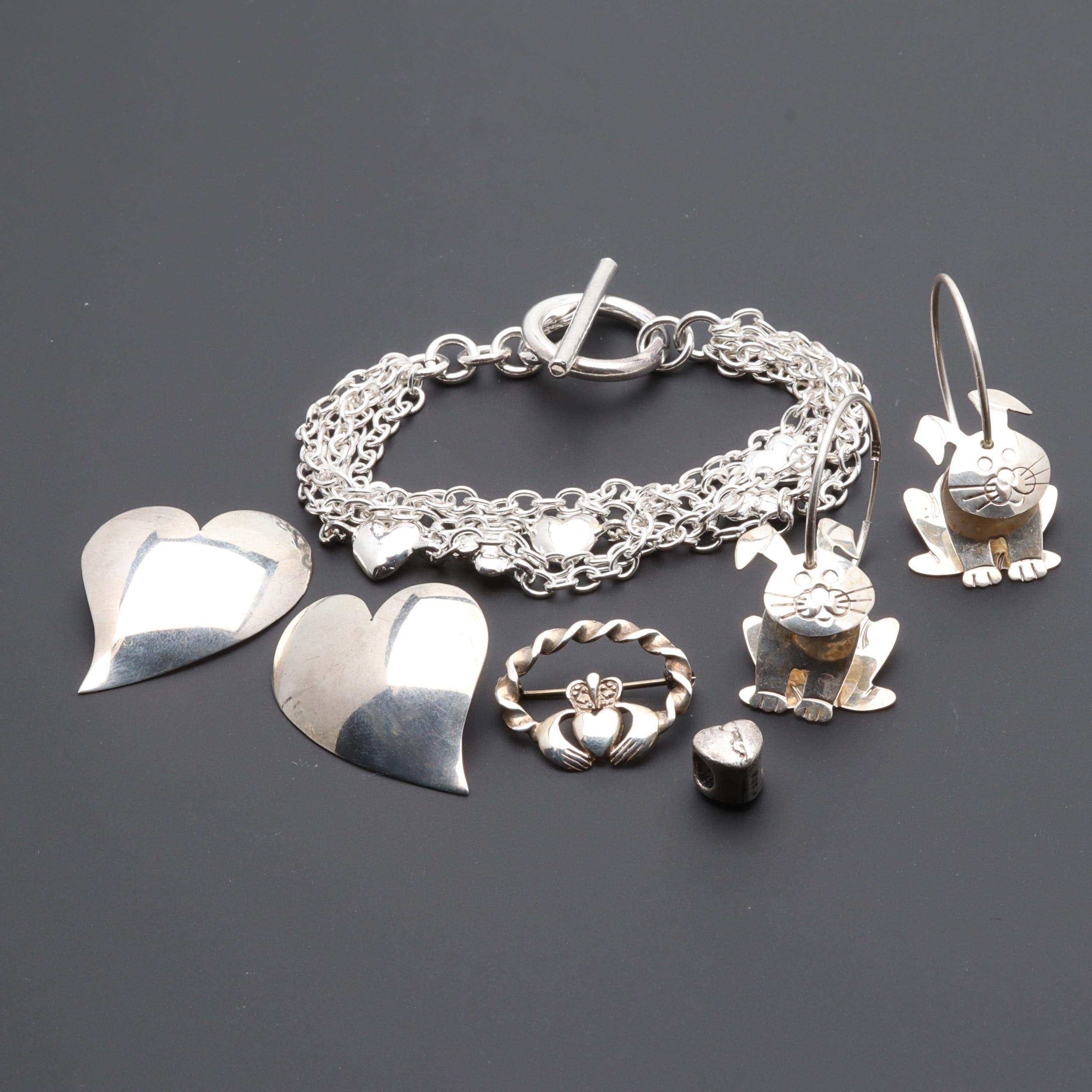 Sterling Silver Jewelry Including Bracelet, Brooch, Earrings, and Bead