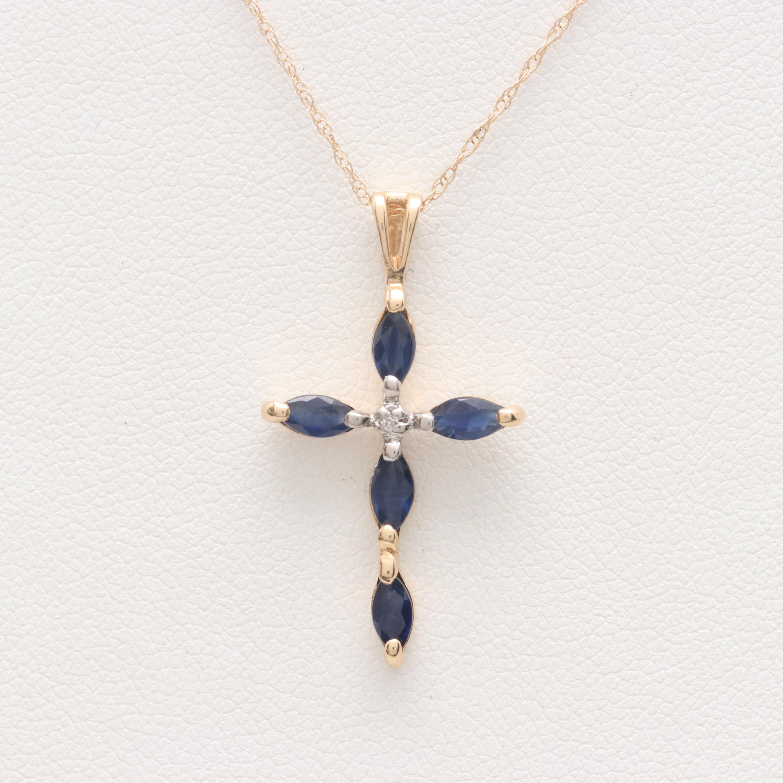 14K Yellow Gold Diamond and Blue Sapphire Cross Necklace