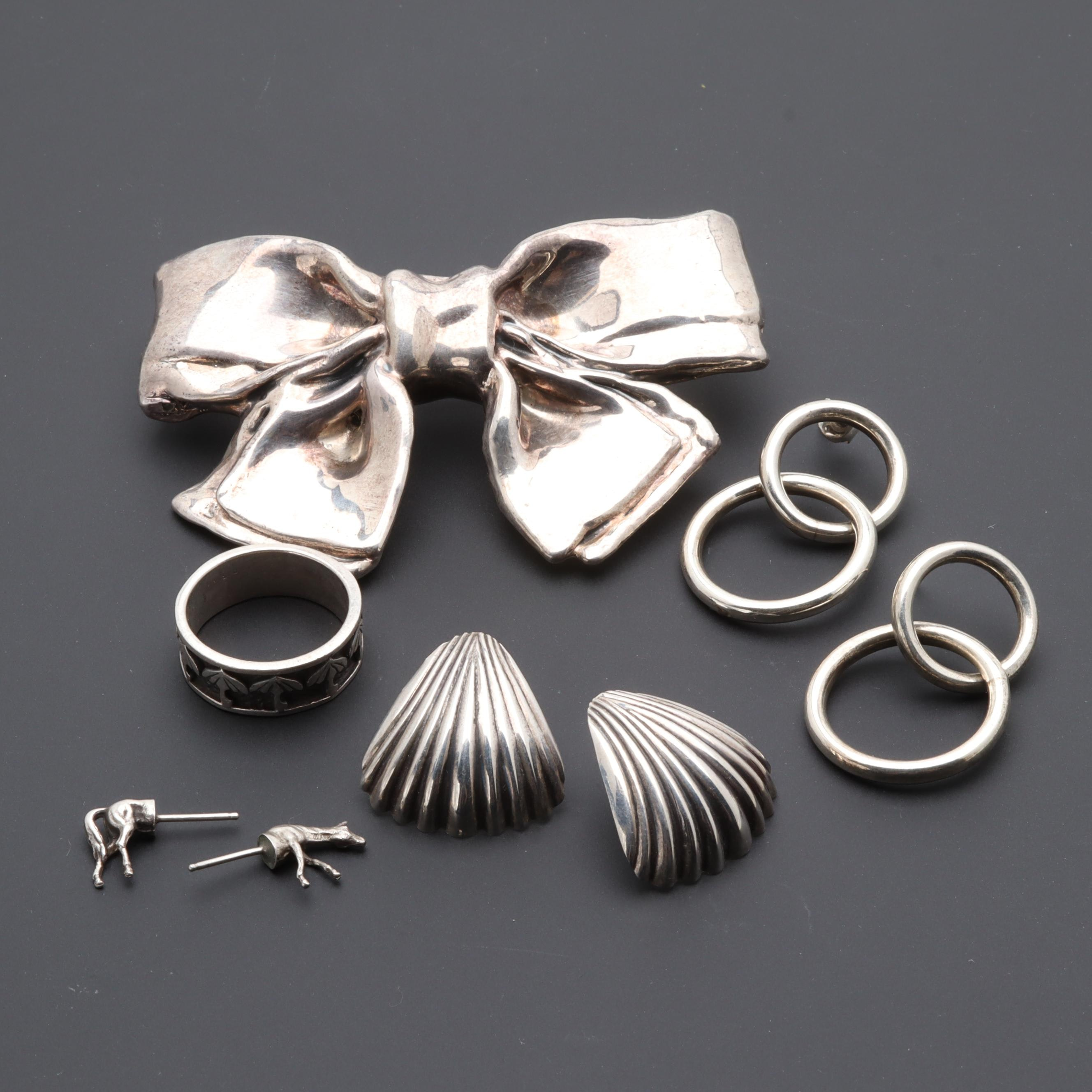 Sterling Silver Jewelry Collection Including Brooch, Earrings and Ring