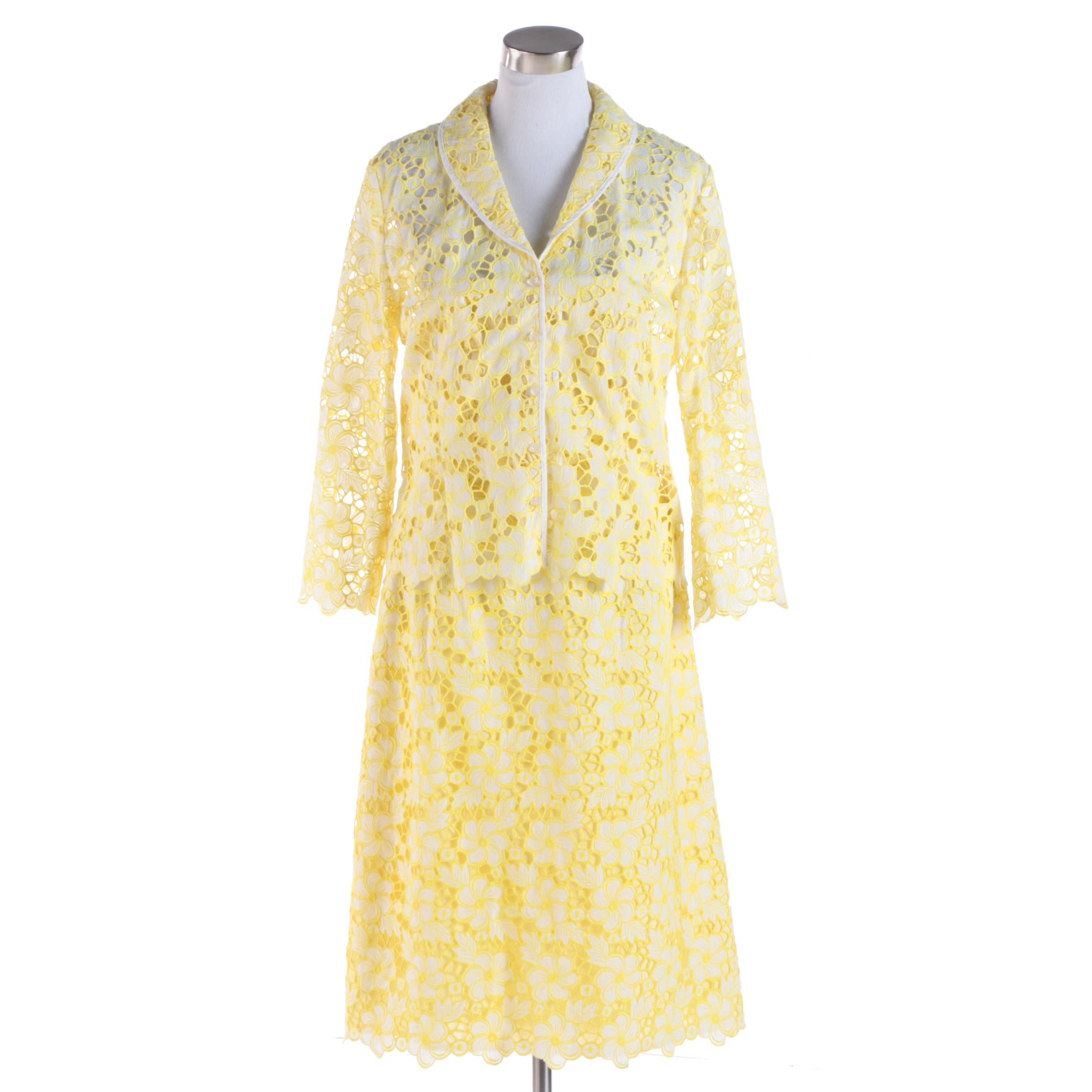 Lilly Pulitzer Yellow Eyelet Lace Dress Suit