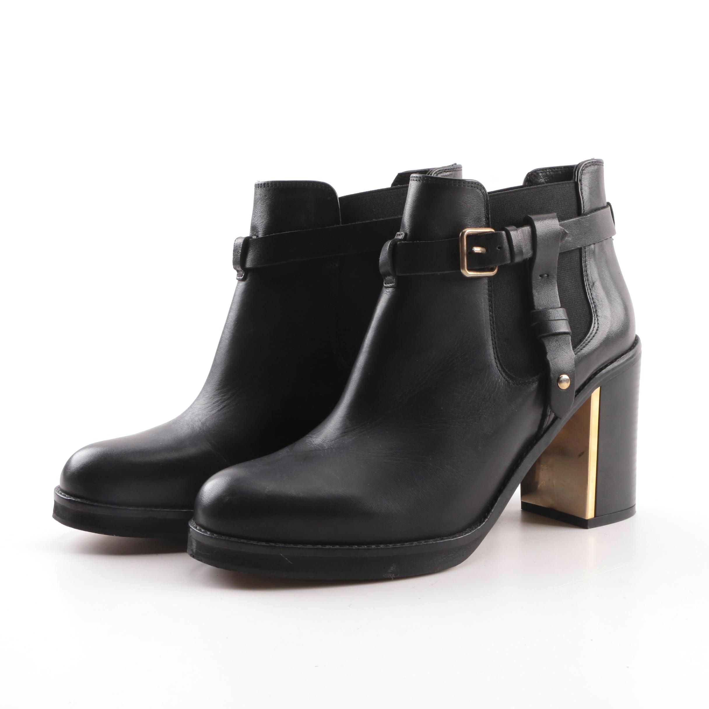 Women's Topshop Black Leather Ankle Boots