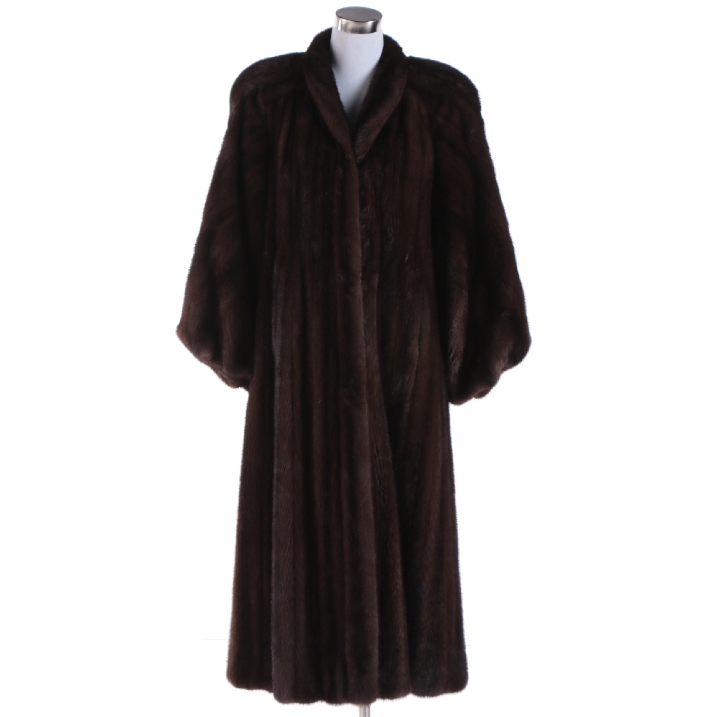 Women's Vintage Grosvenor Dark Brown Mink Fur Full-Length Coat