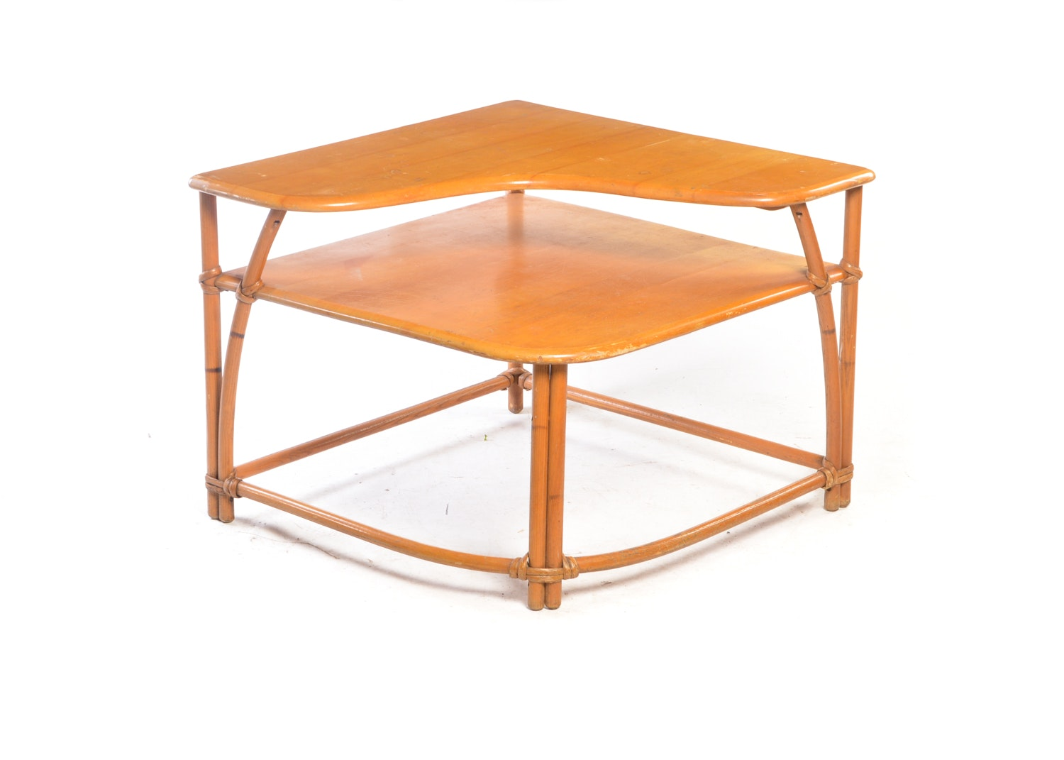 Vintage Bamboo and Maple Two-Tier Corner End Table by Heywood-Wakefield