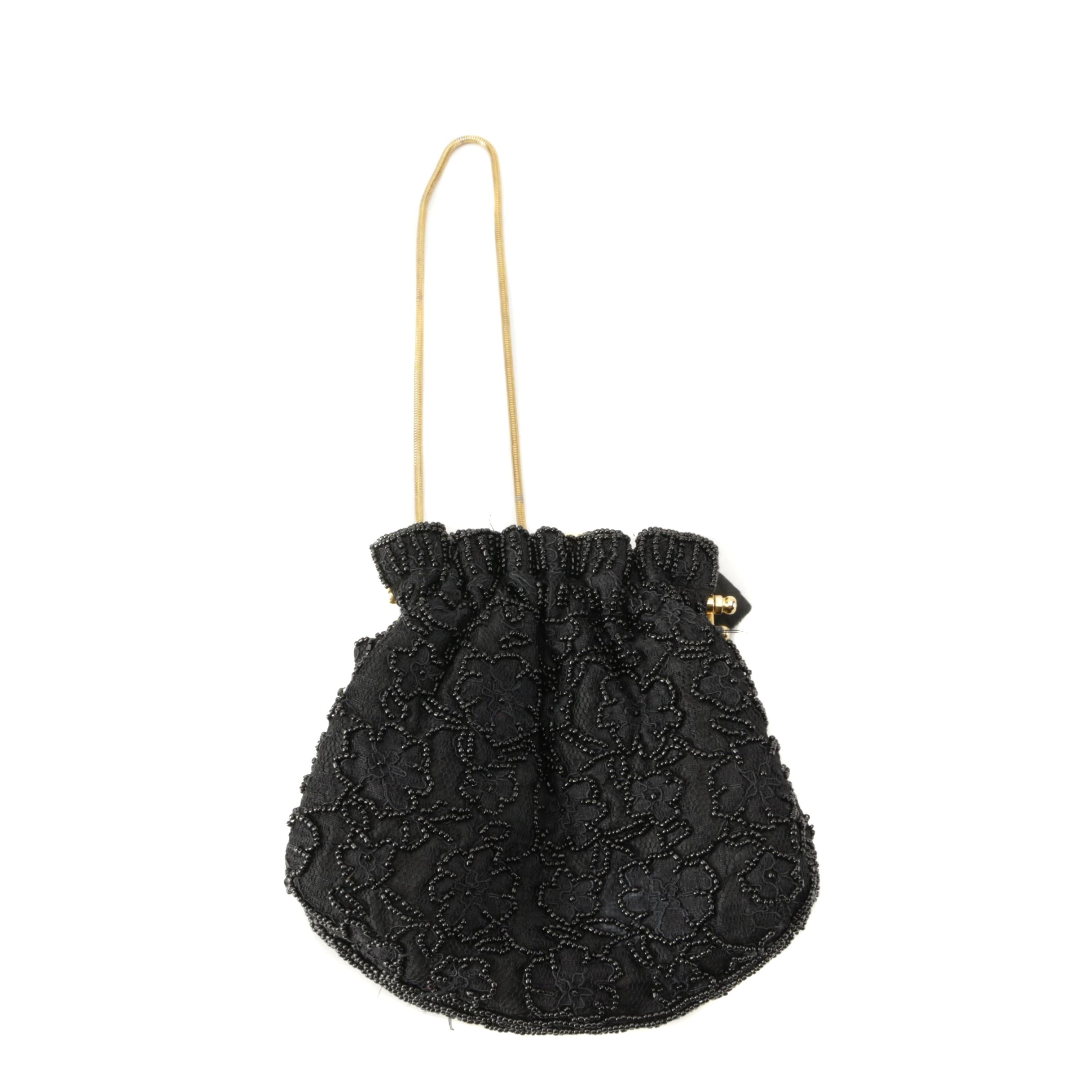 I. Magnin Beaded Black Lace Evening Bag