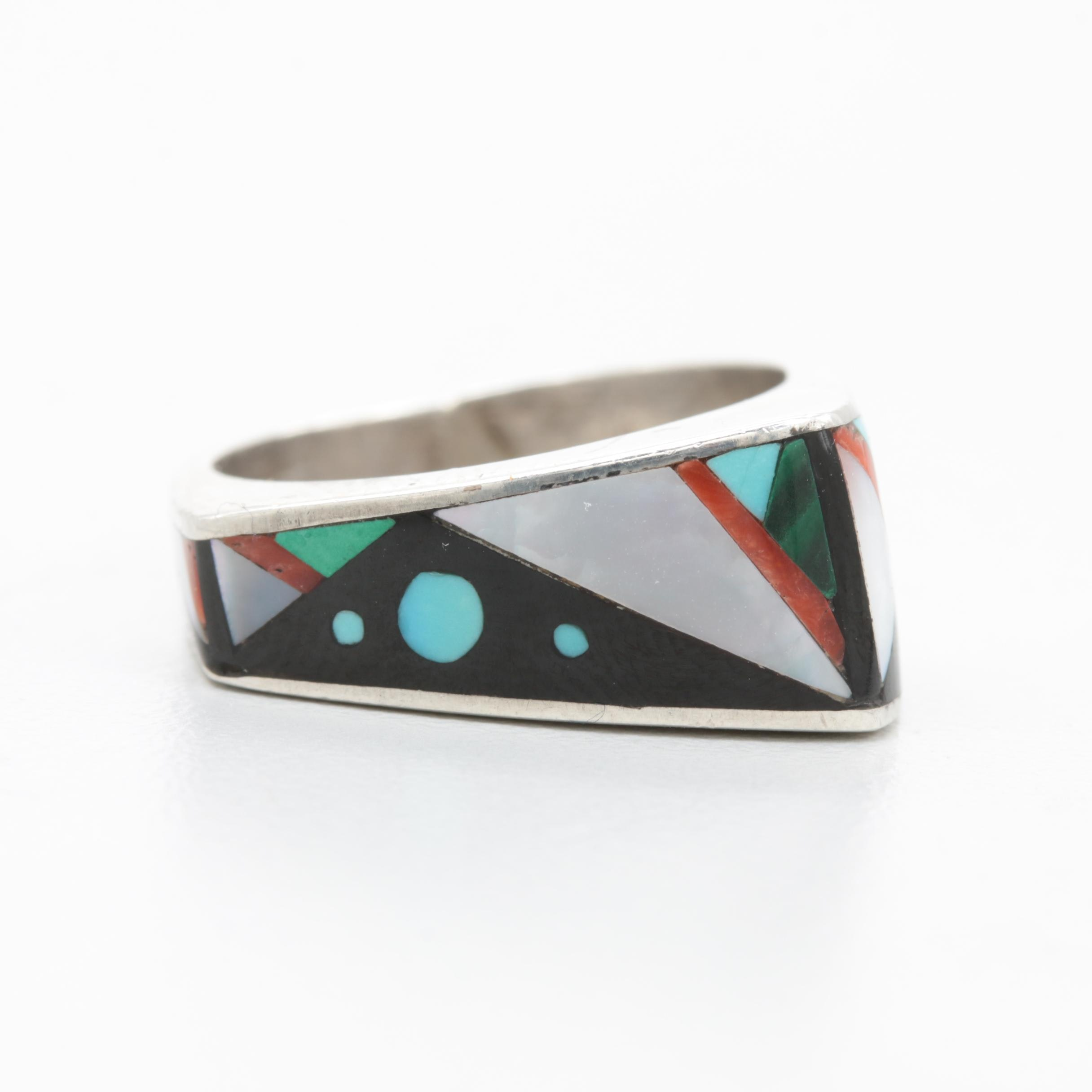 Contemporary Southwestern Style Sterling Silver Gemstone Inlay Ring